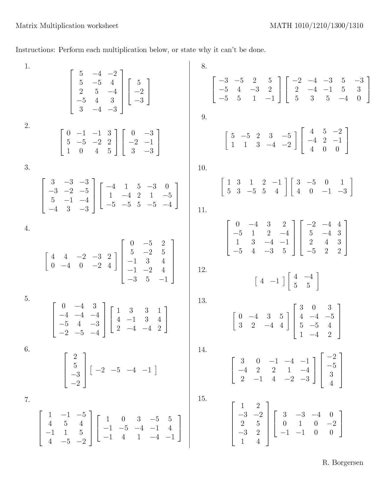 Worksheet Multiplication Of Matrices