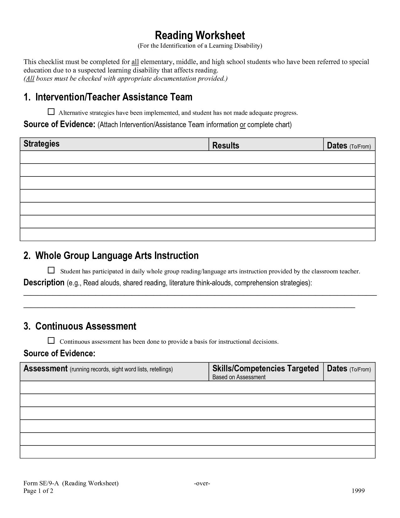 Worksheet For Middle School Students Resume