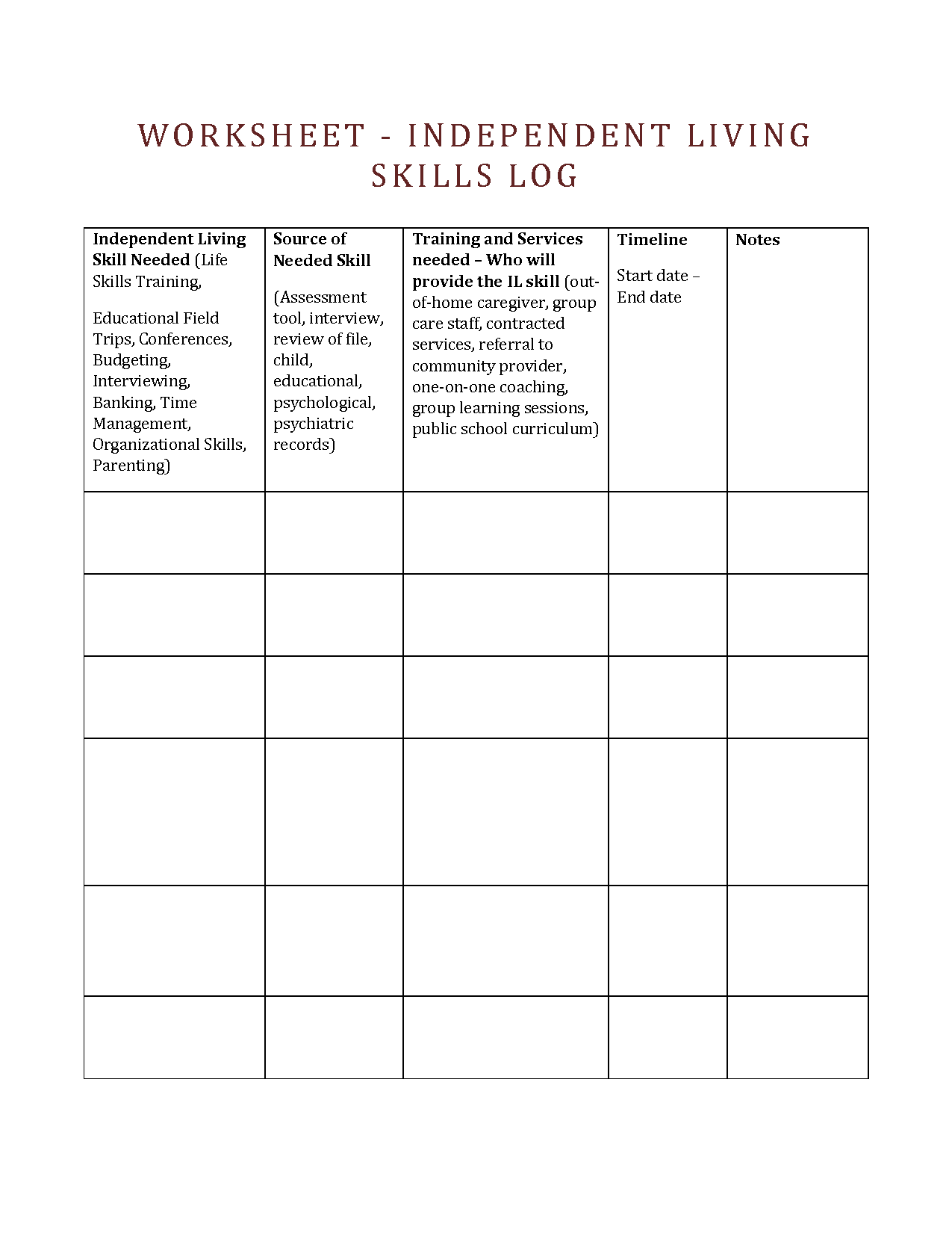 Worksheet Transition Adult Life
