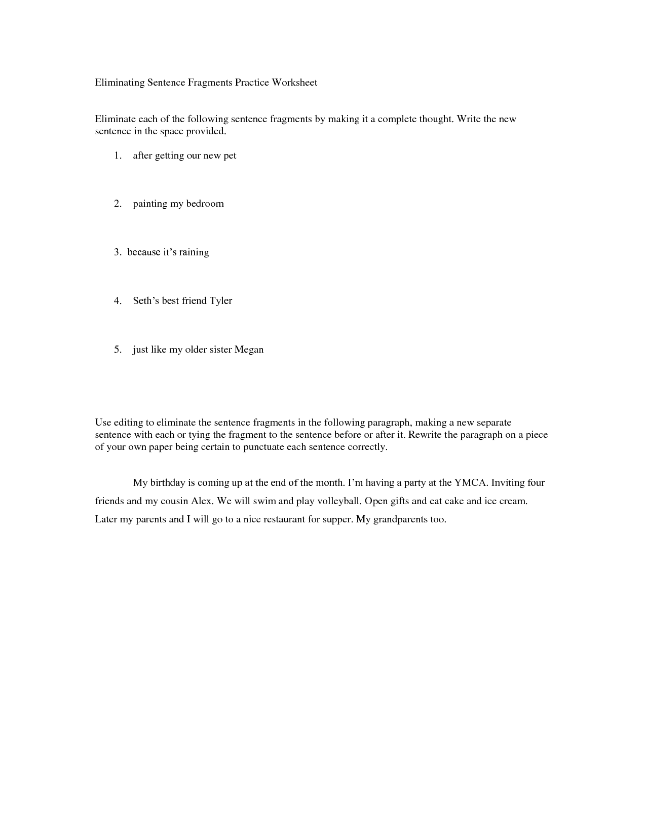 Sentence Fragments Worksheet