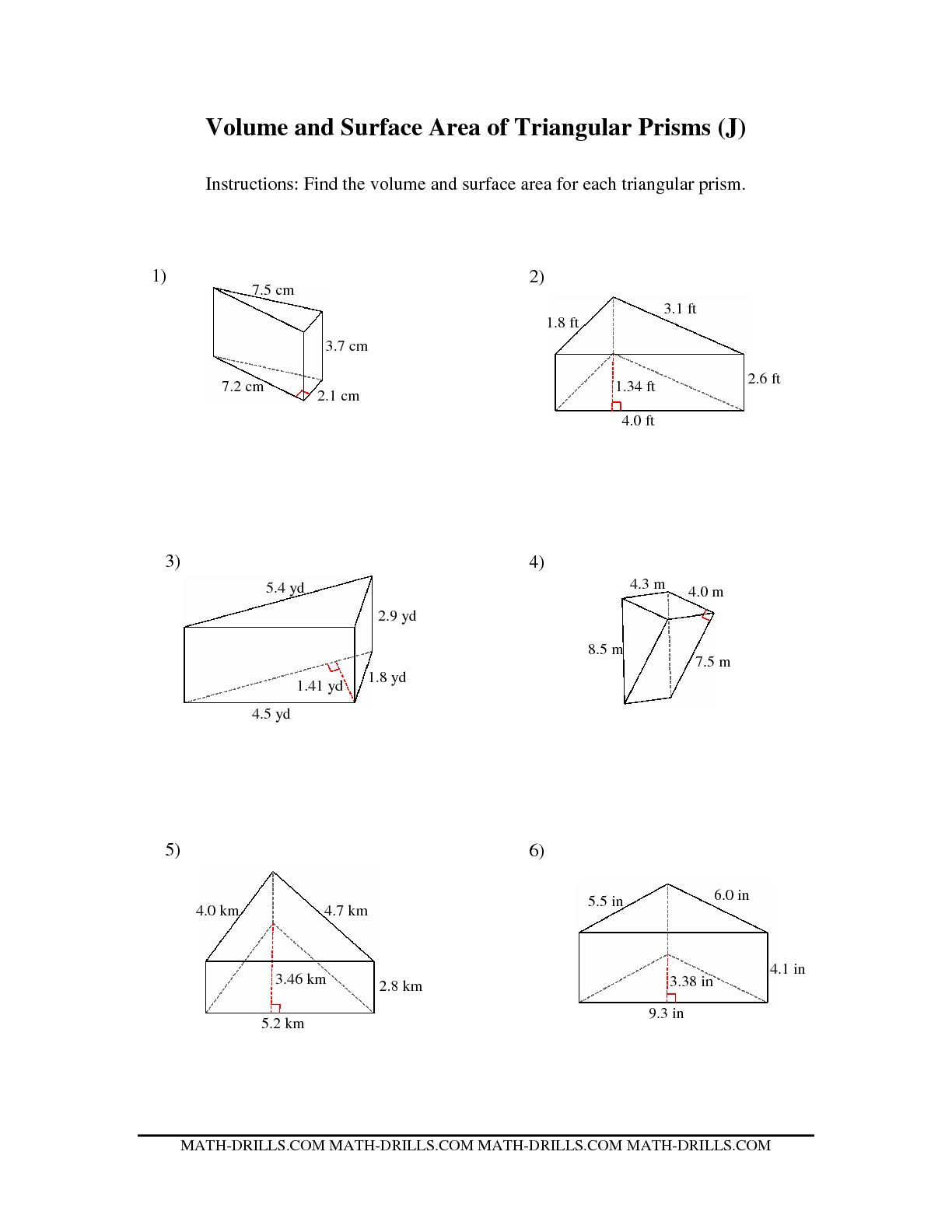 Printable Area Worksheet Rectangular Prism