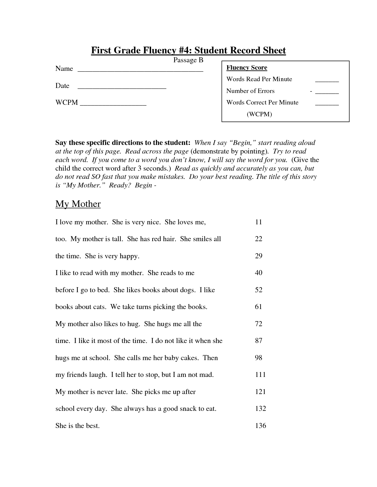 13 Best Images Of Fluency Worksheets For Middle School