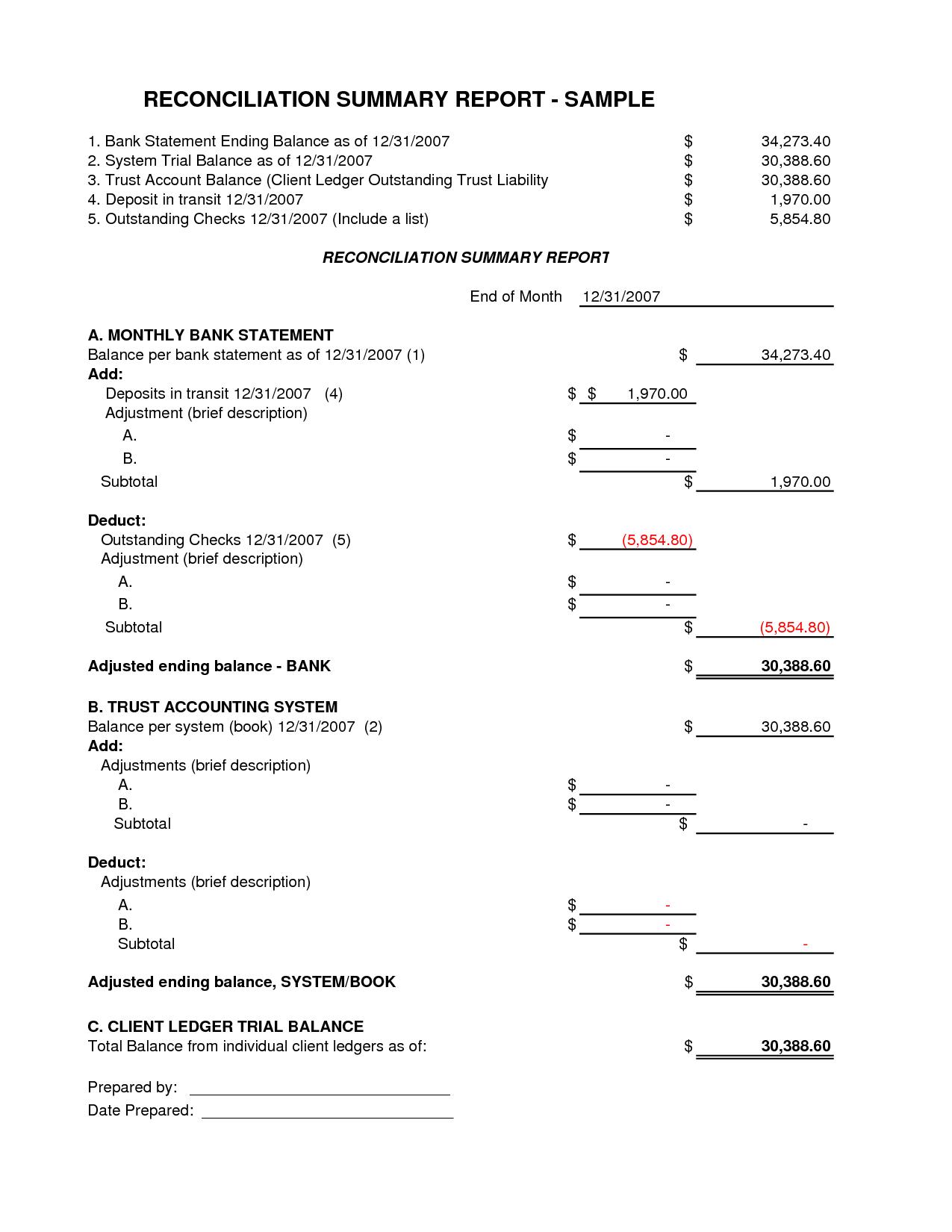 Bank Statement Worksheet