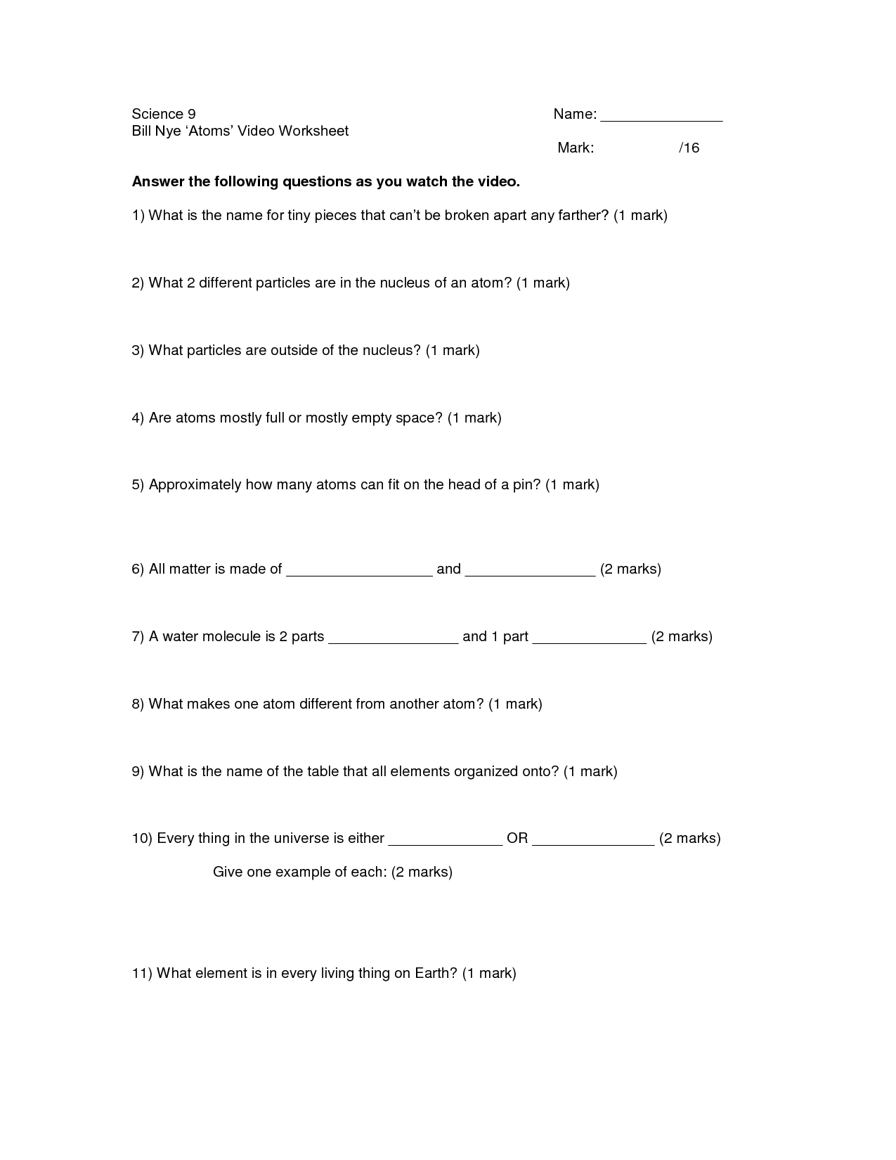14 Best Images Of Bill Nye The Science Guy Cells Worksheet