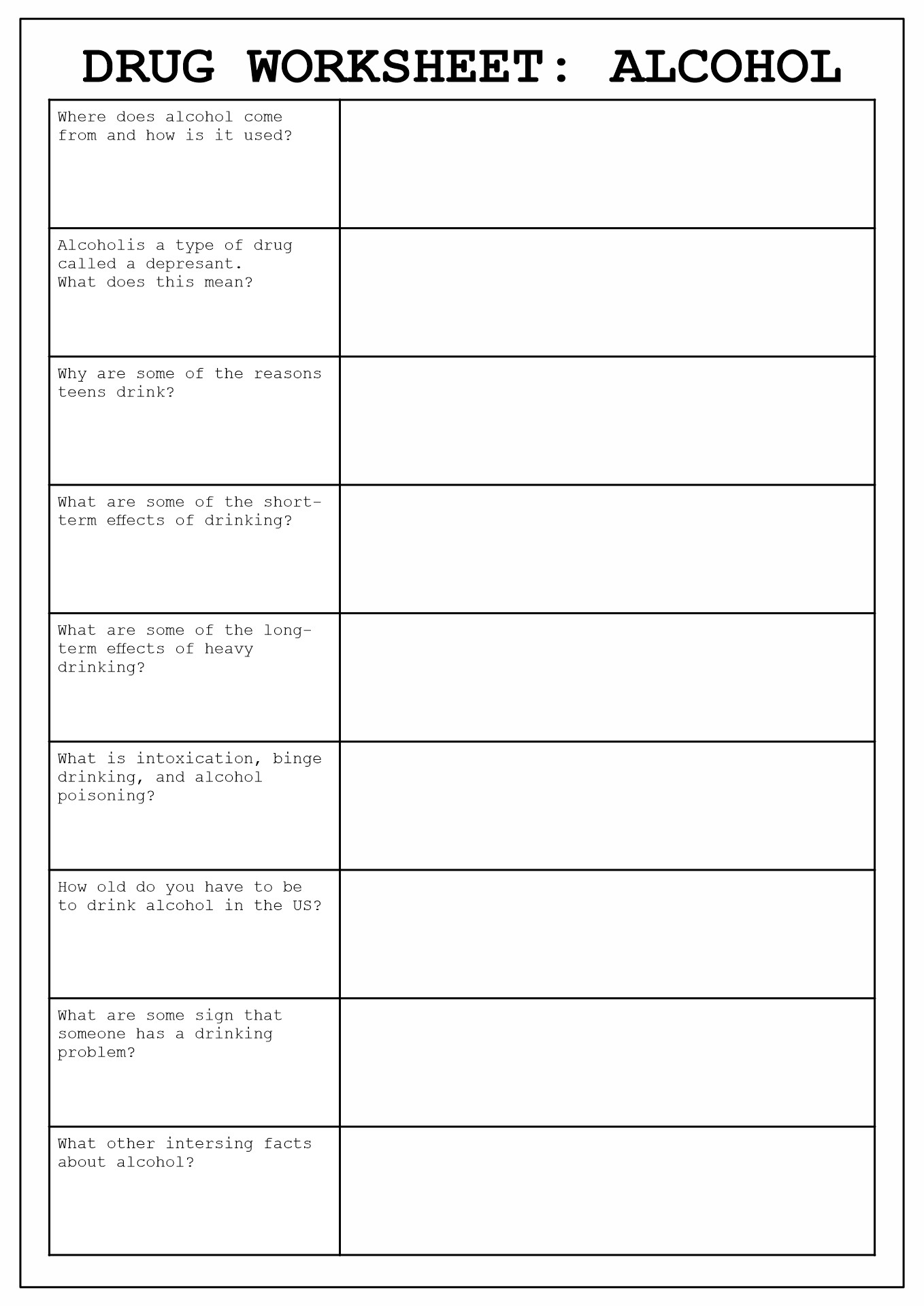 8 Best Images Of Drug Addiction Worksheets Printable