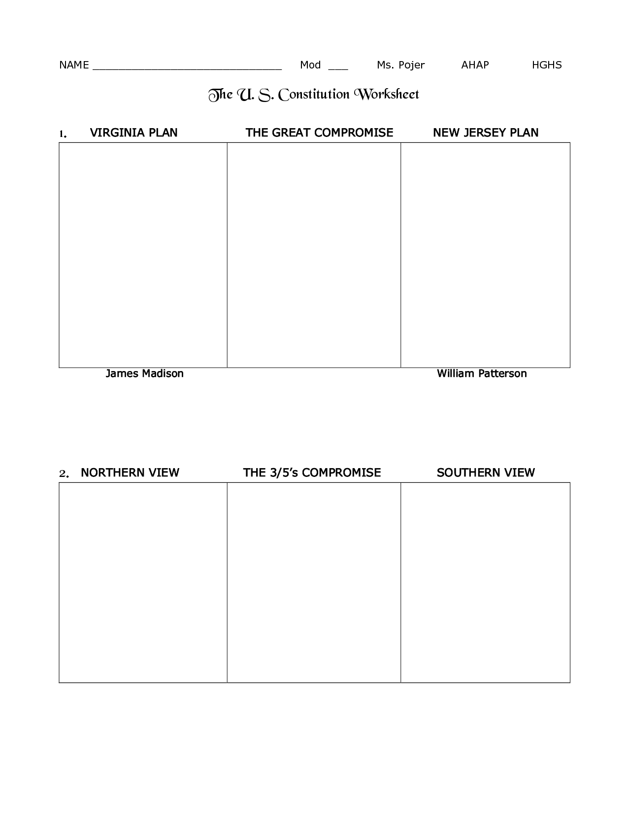 The Principles Of Constitution Worksheet