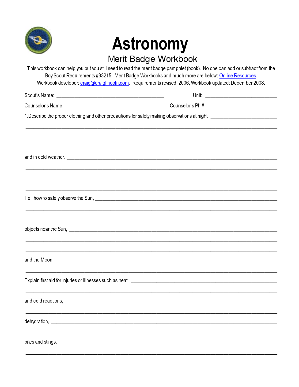 Camping Boy Scouts Merit Badge Worksheet