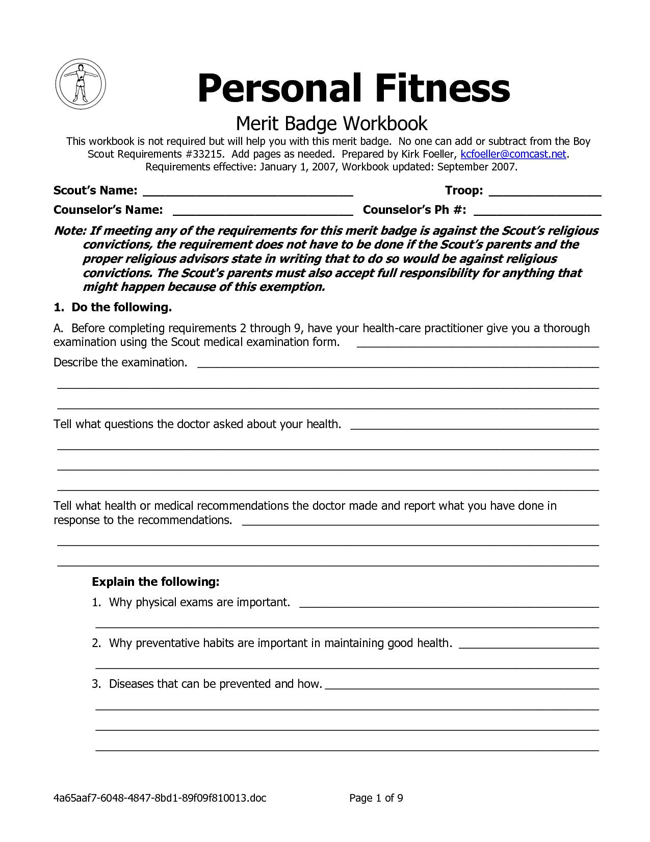Personal Fitness Merit Badge Worksheet Answers