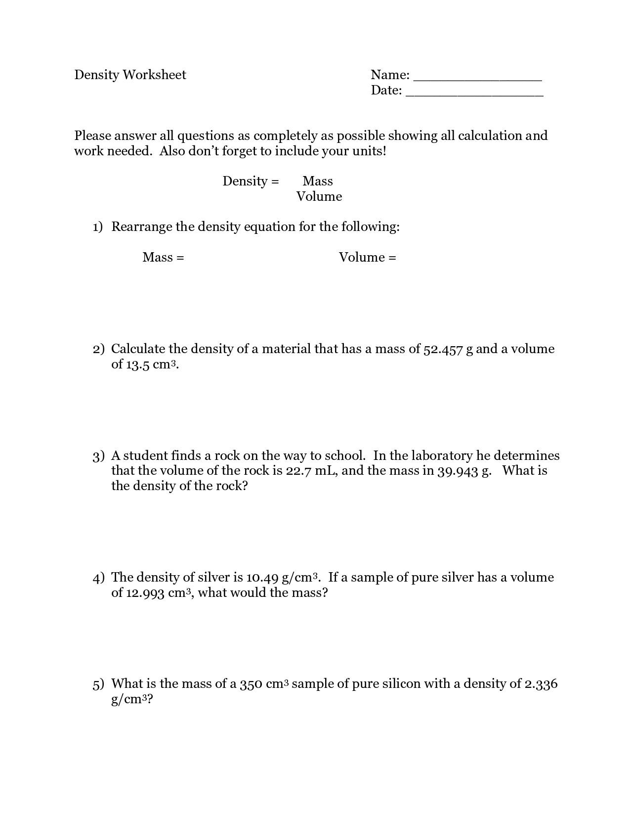 10 Best Images Of Density Practice Worksheet Middle School