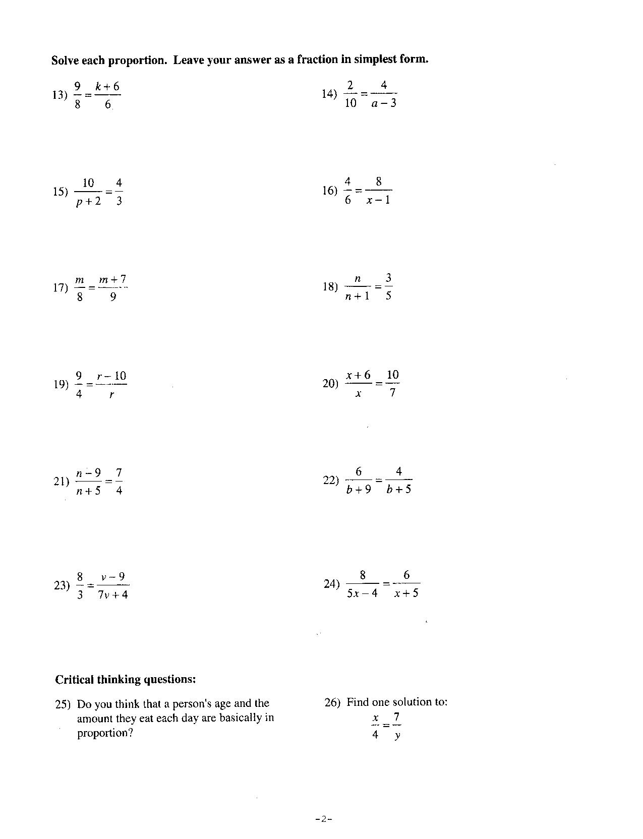 Proportions Worksheets With Answers