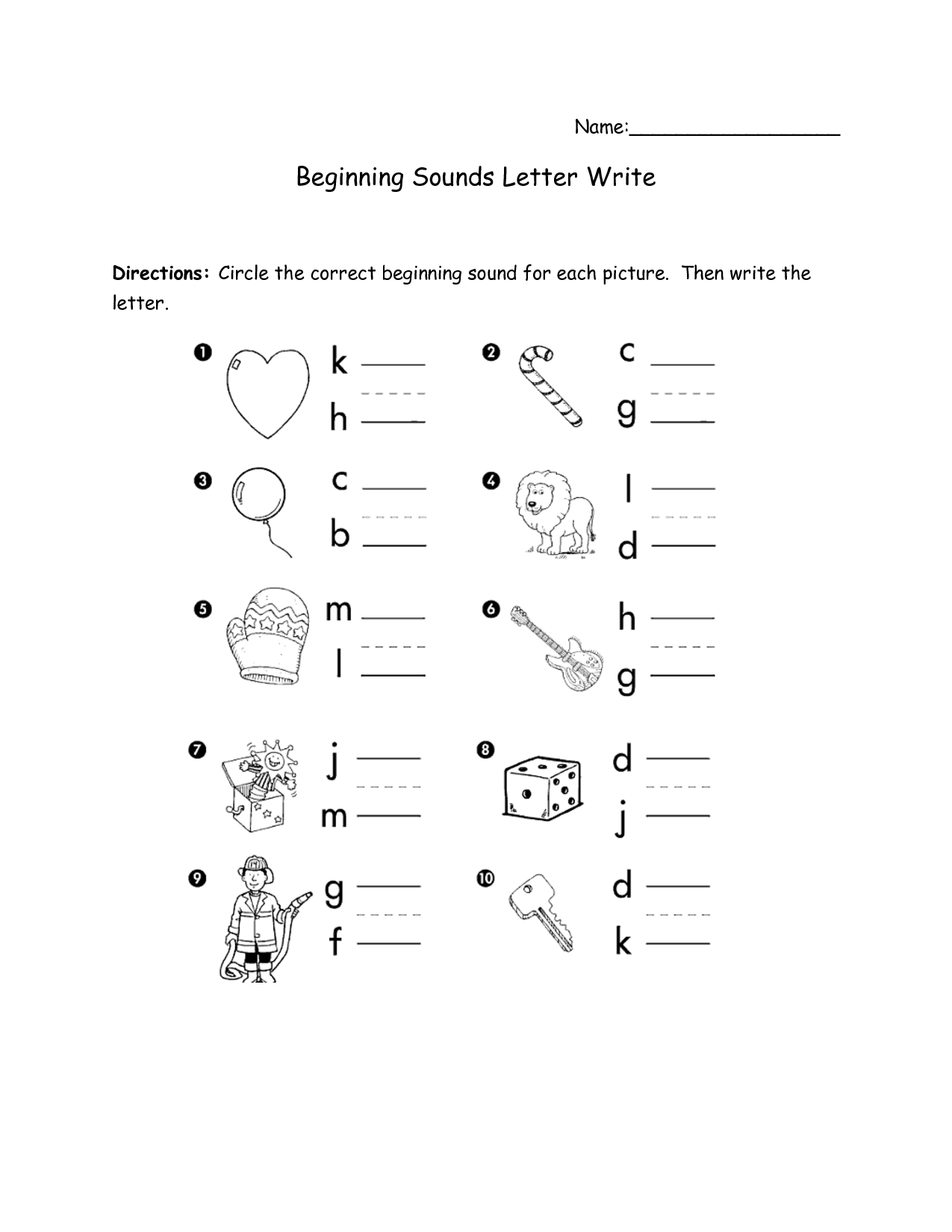 Letter N Beginning Sound Worksheet