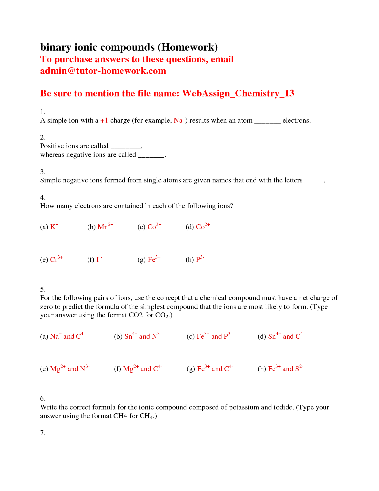 13 Best Images Of Naming Binary Compounds Worksheet
