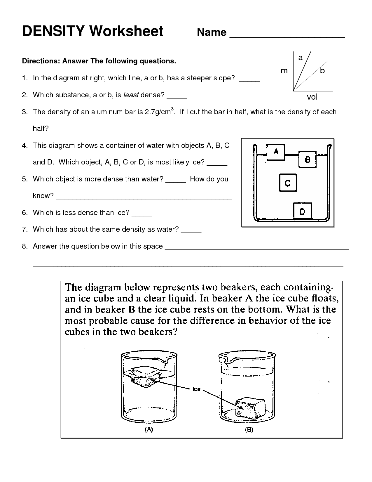 Density Worksheet Middle School