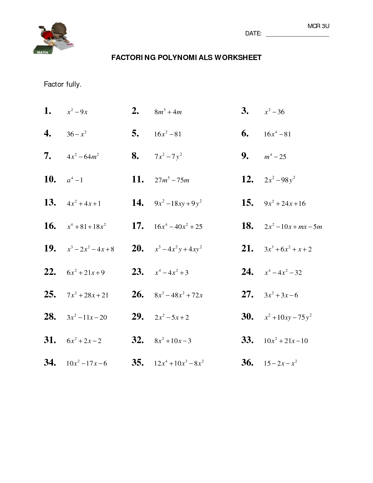 10 Best Images Of Factoring Polynomials Practice Worksheet And Answers