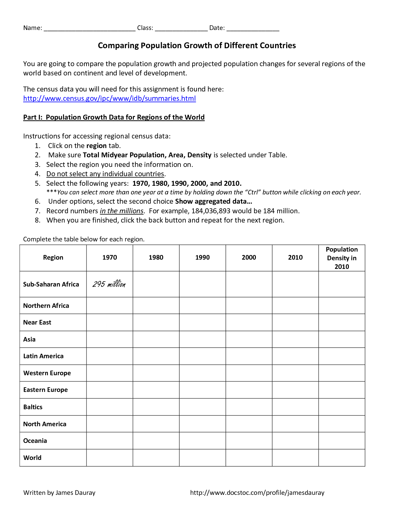 Population Worksheet Middle School Printable Worksheets