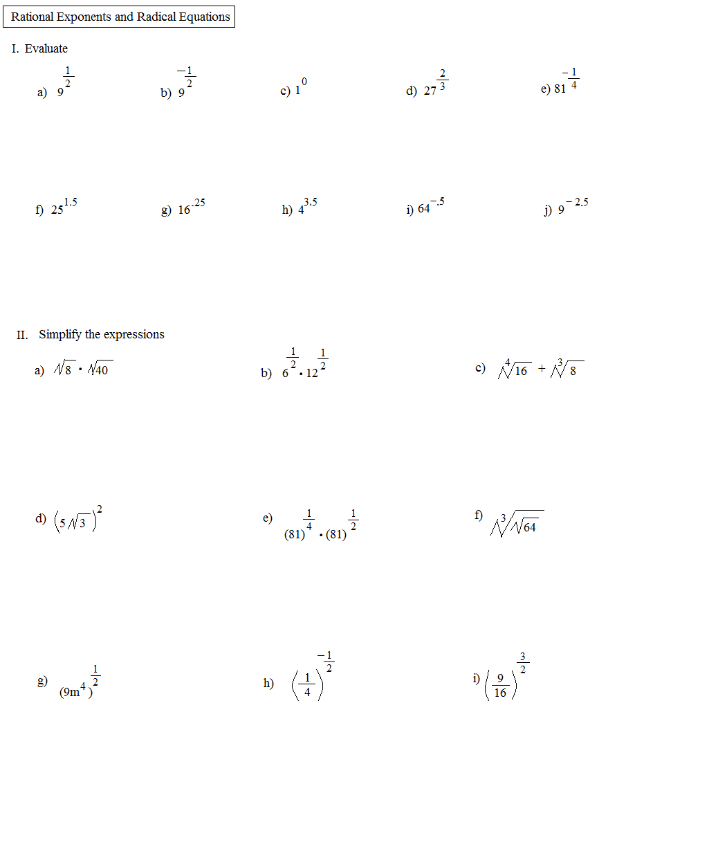 11 Best Images Of Exponents Worksheets With Answer Key