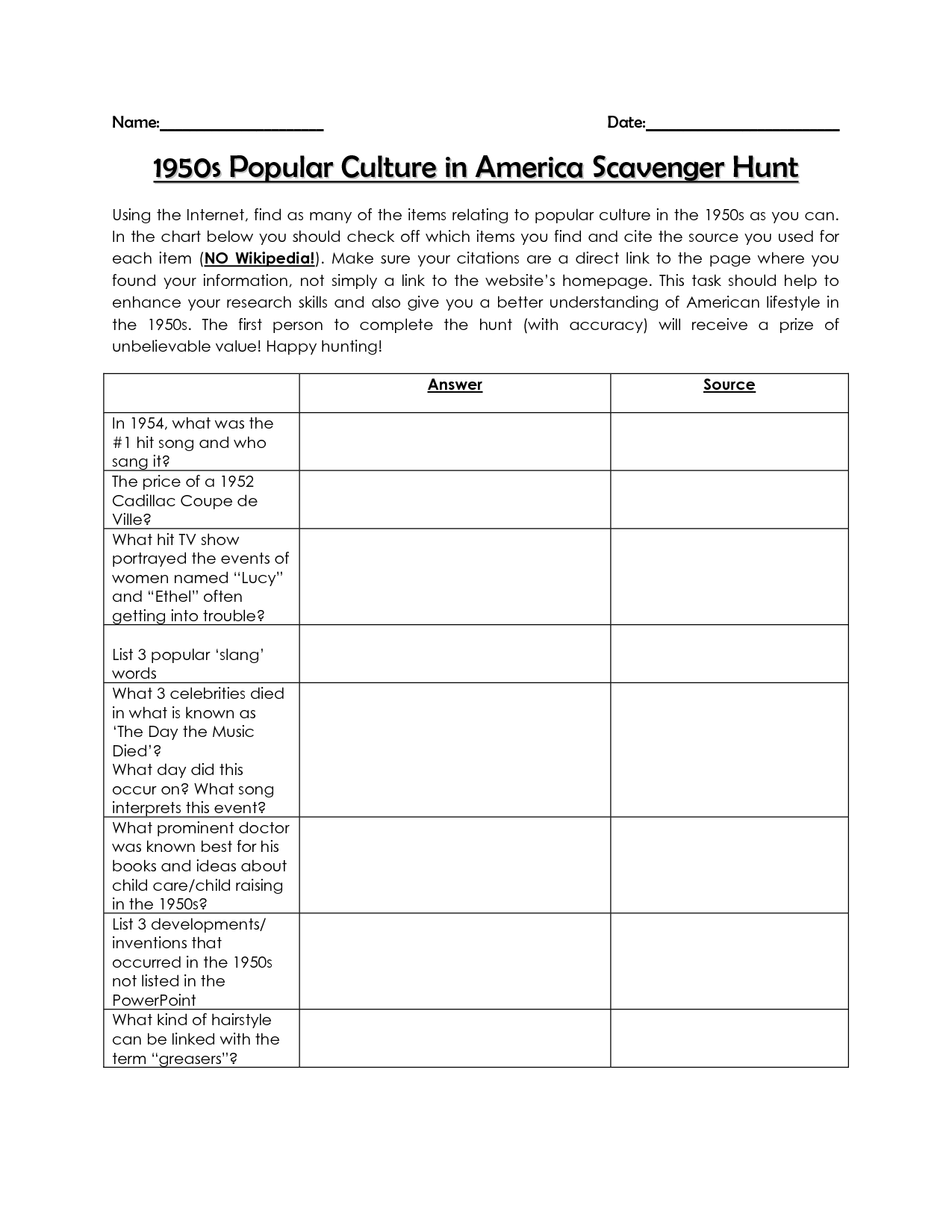14 Best Images Of Student Scavenger Hunt Worksheet