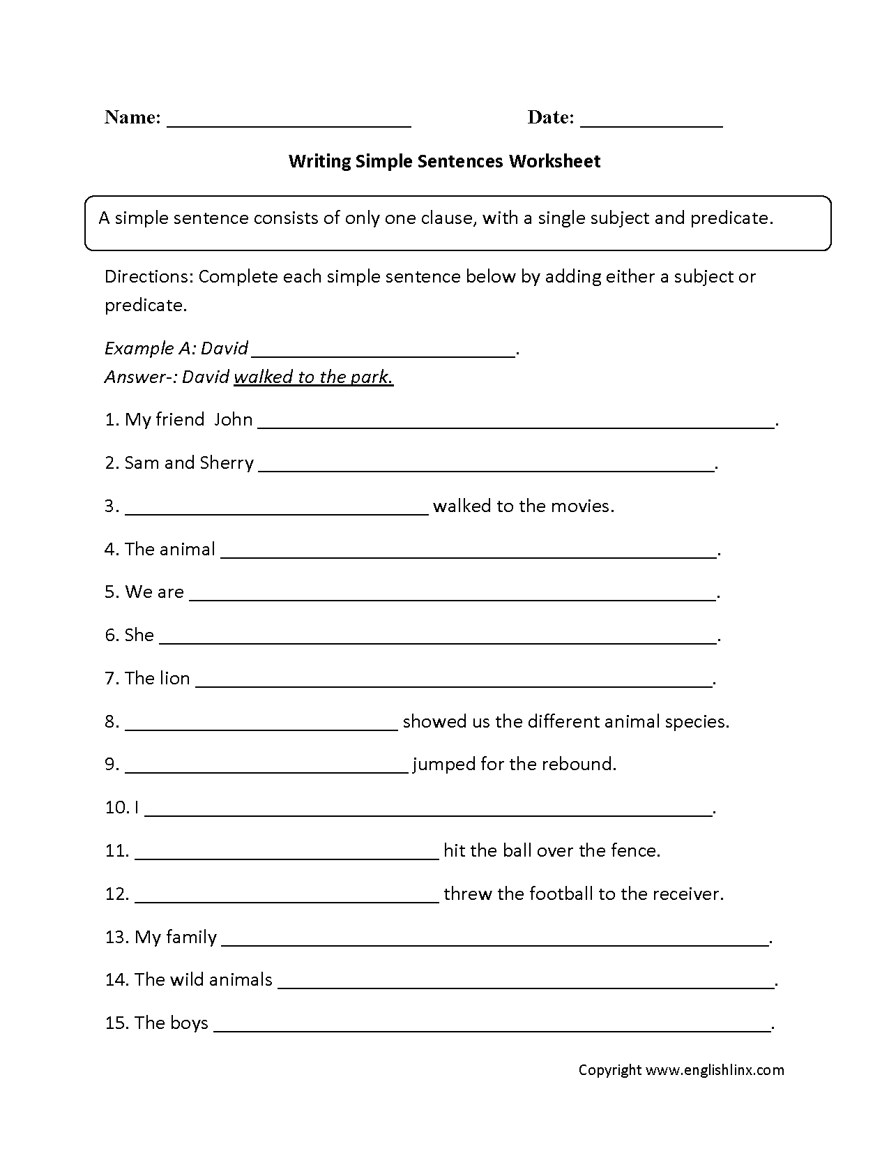 Worksheet Sentence Order