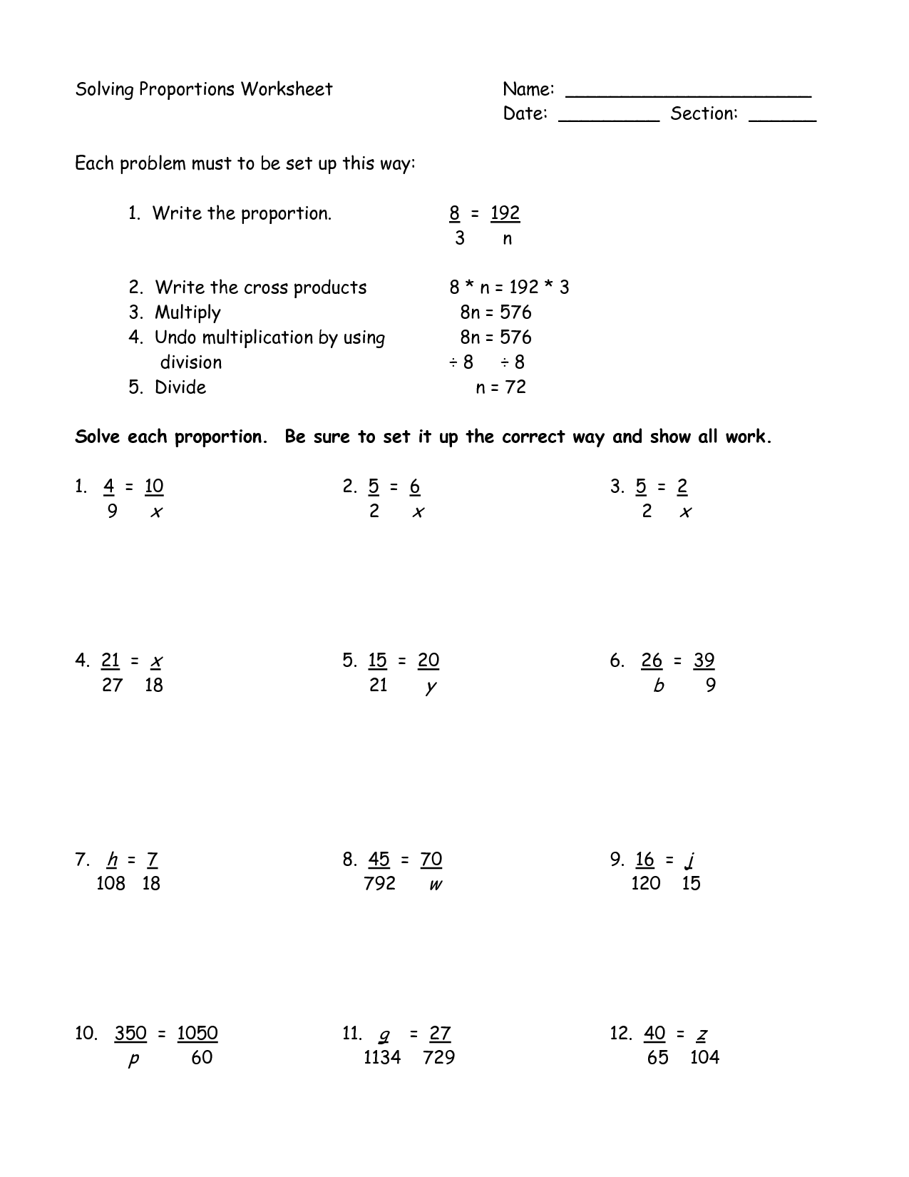 7th Grade Ratio And Proportion Word Problems Worksheets