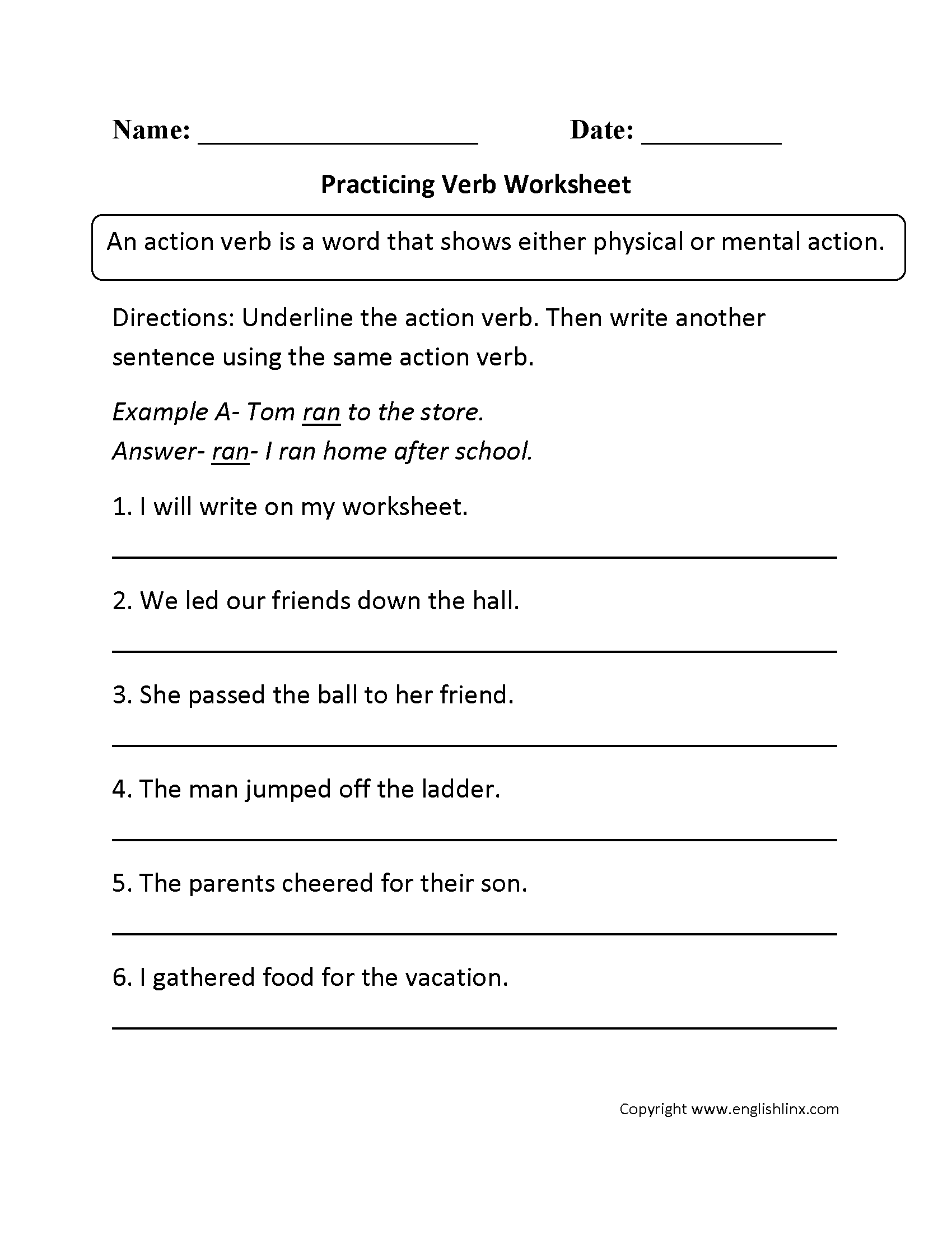 Helping Verbs For Fourth Graders