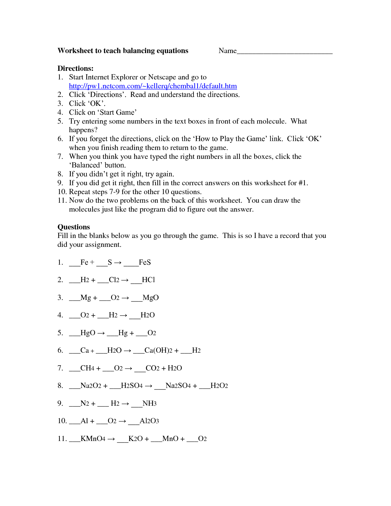 Balancing Equations Race Worksheet Questions