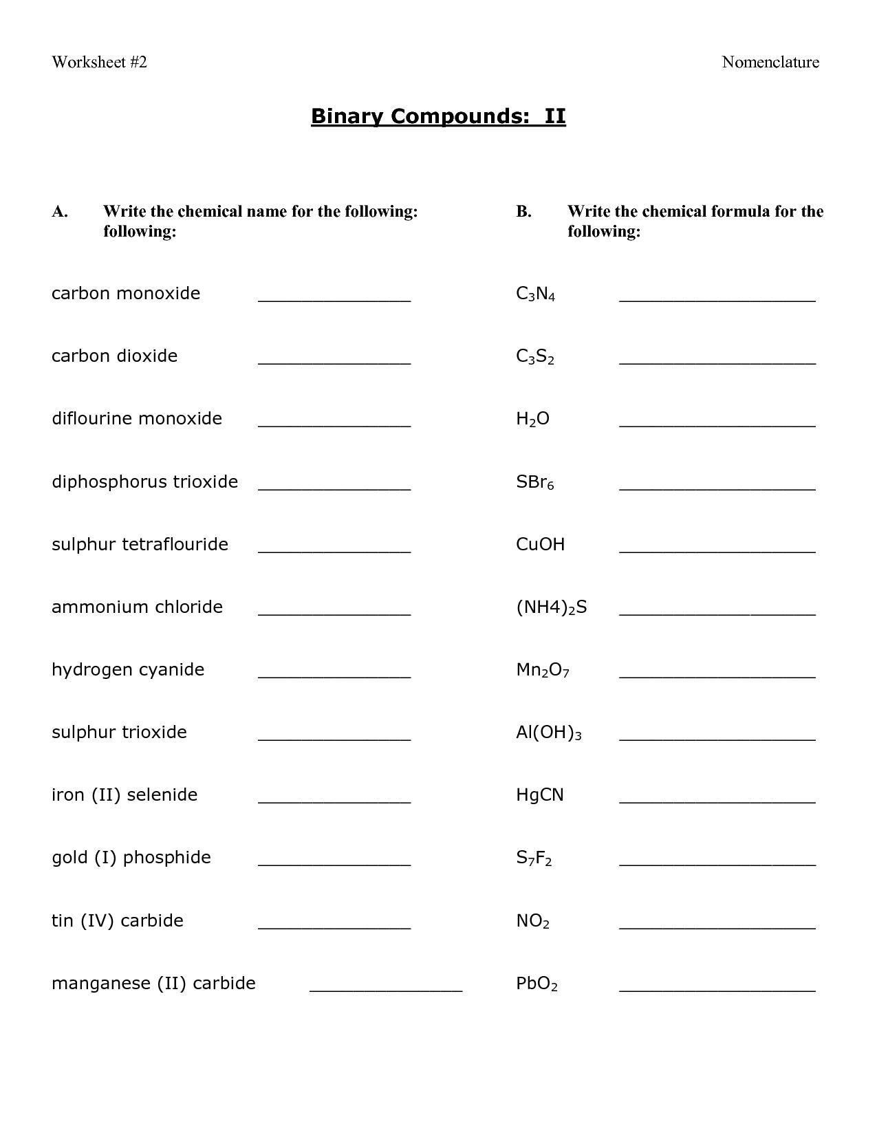 12 Best Images Of Compound Names And Formulas Worksheet