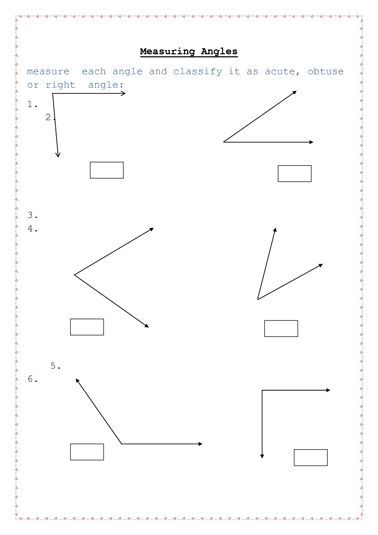 Facing Math Worksheet Angles