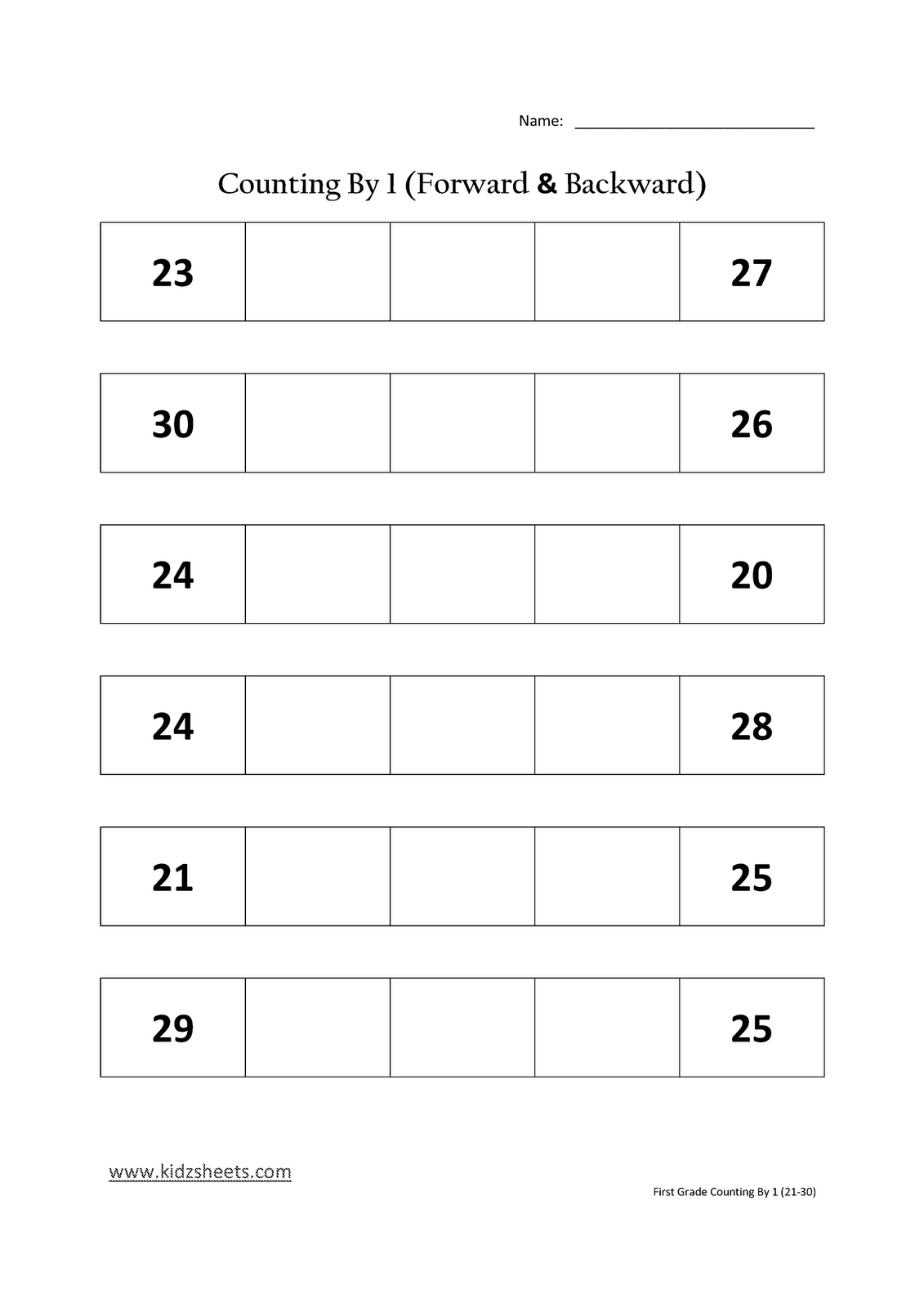 Kindergarten Counting To 30 Worksheet