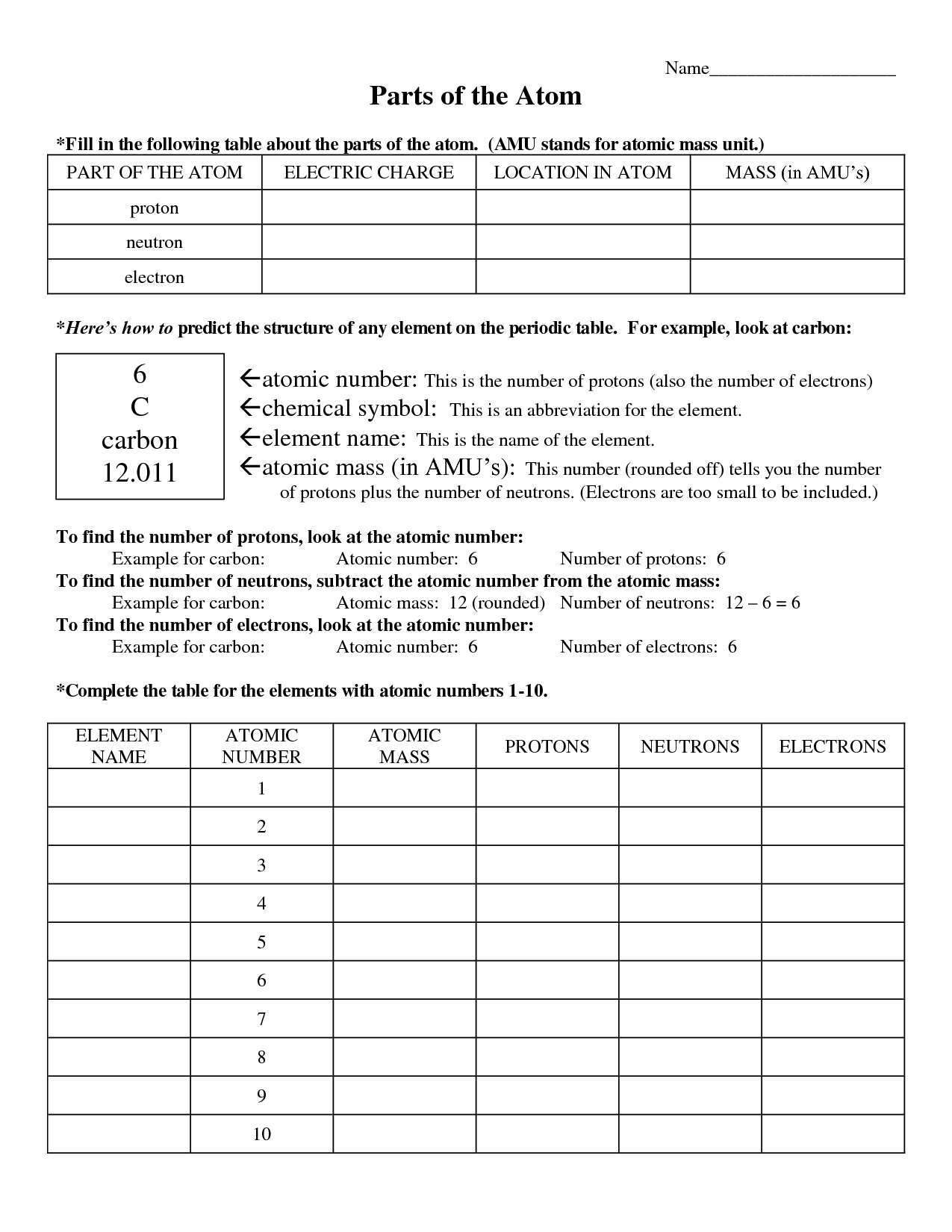 Atomic Basics Worksheet With Answers