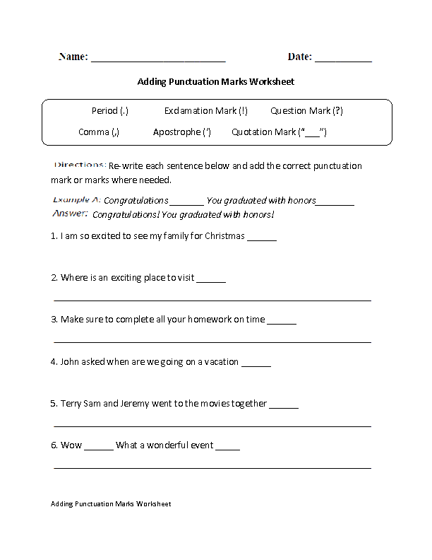 15 Best Images Of Punctuation Worksheets Grade 5