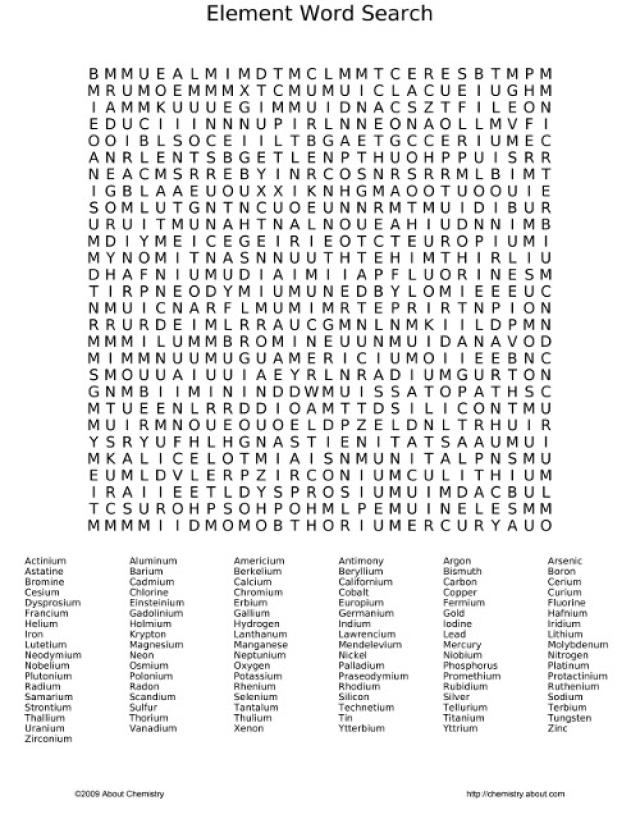 Section 3 Reinforcement The Periodic Table Word Search