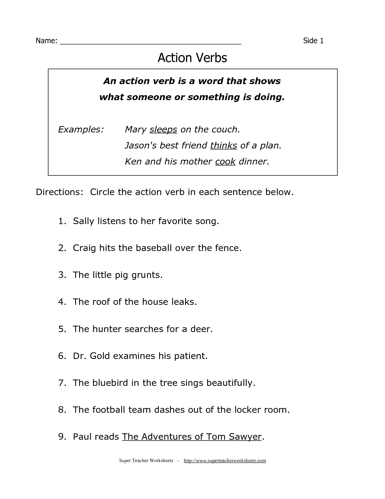 Grammar Worksheet For 4th Grade Free
