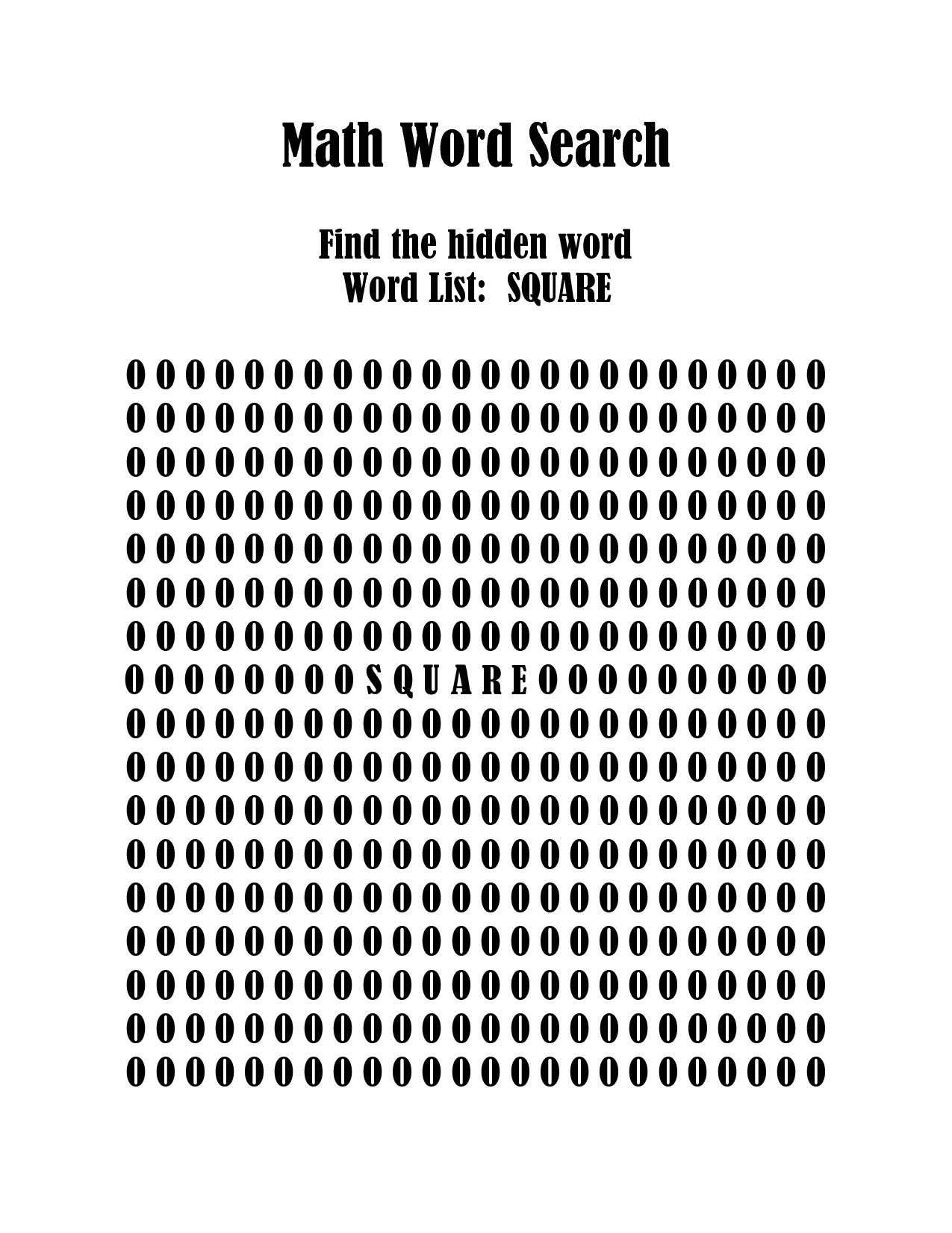 8 Best Images Of Math Worksheets Word Search