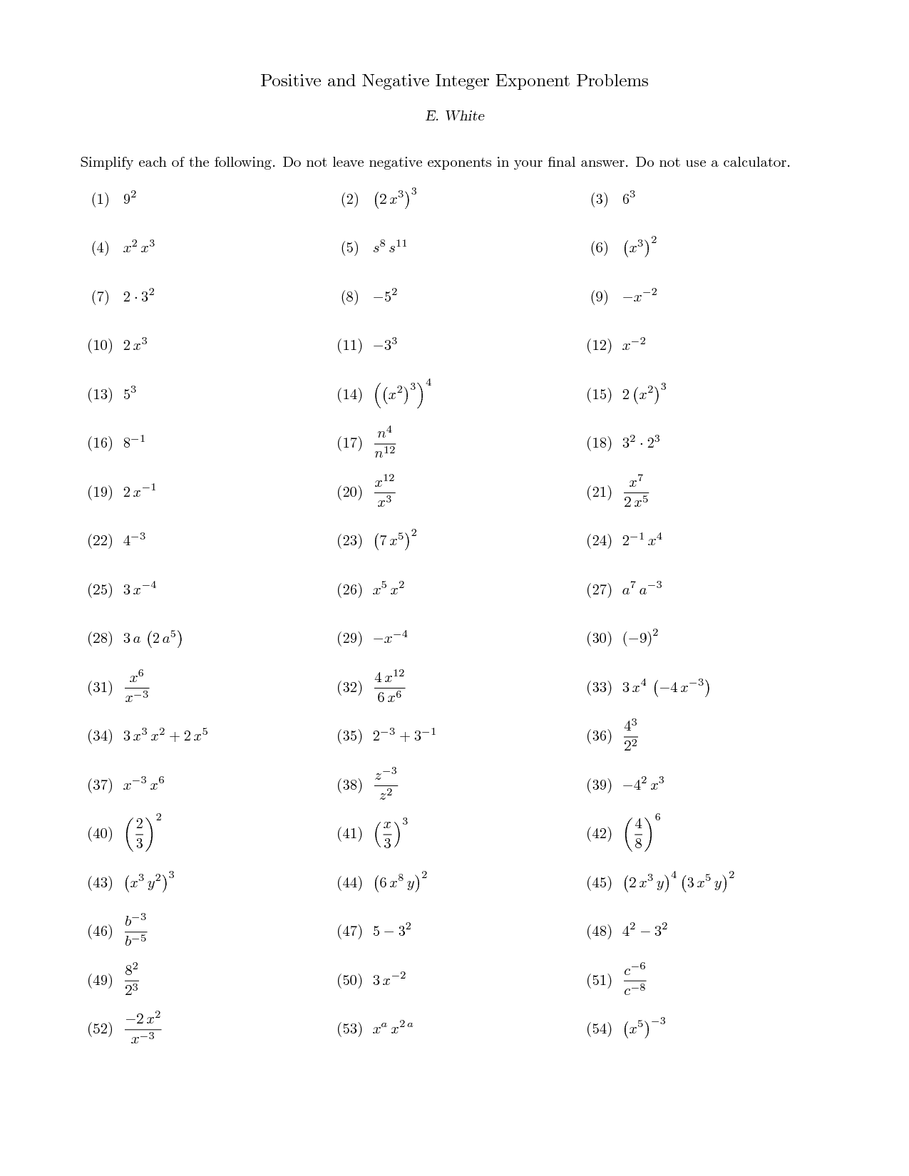 17 Best Images Of Exponent Problems Worksheet
