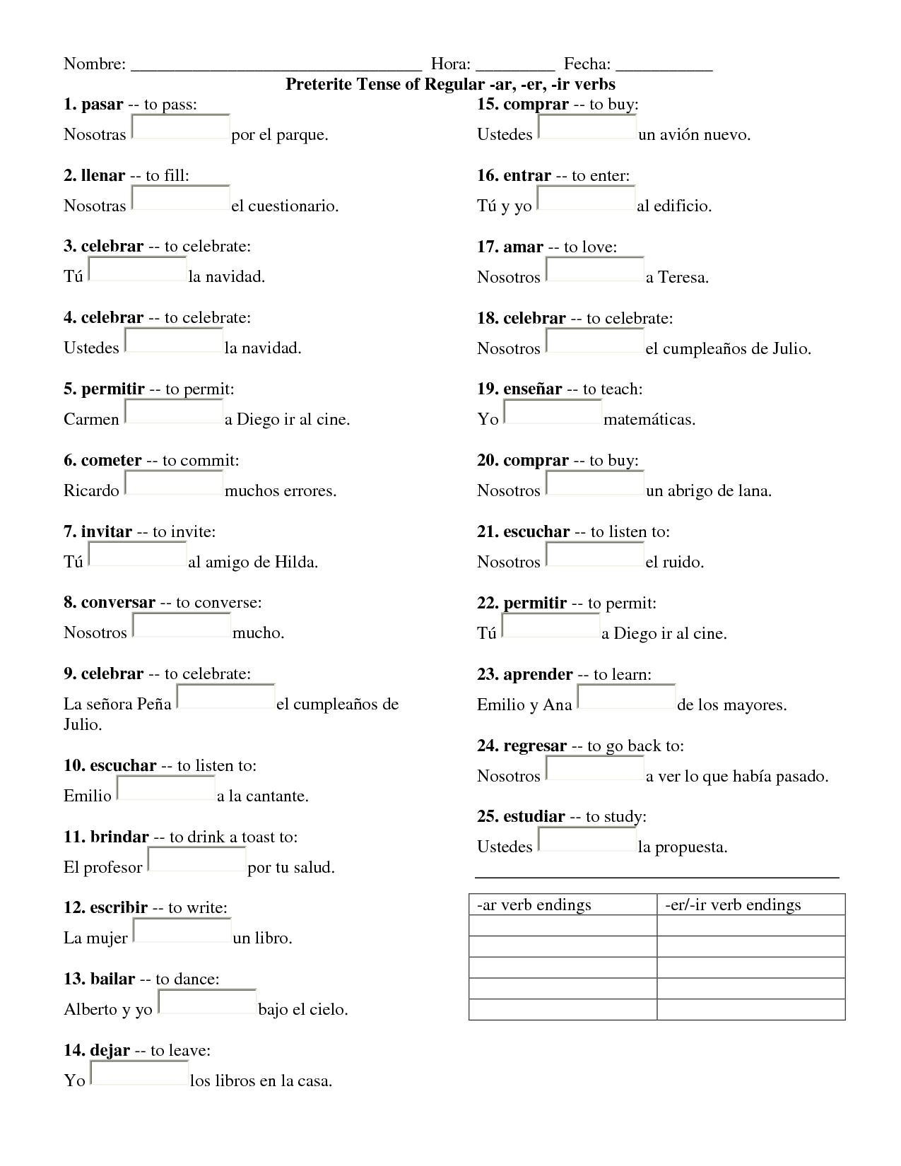 Simple Preterite Spanish Worksheet