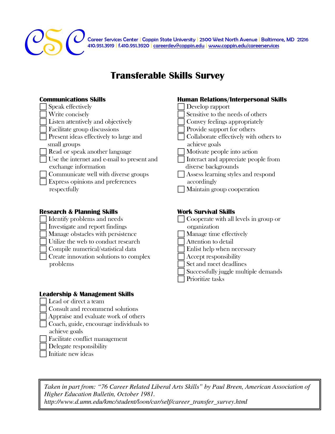 31 Transferable Skills Assessment Worksheet