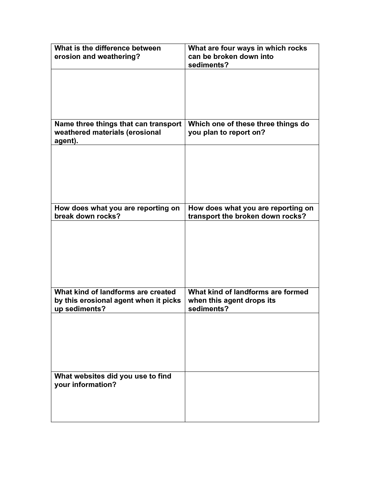16 Best Images Of Weathering And Erosion Worksheet