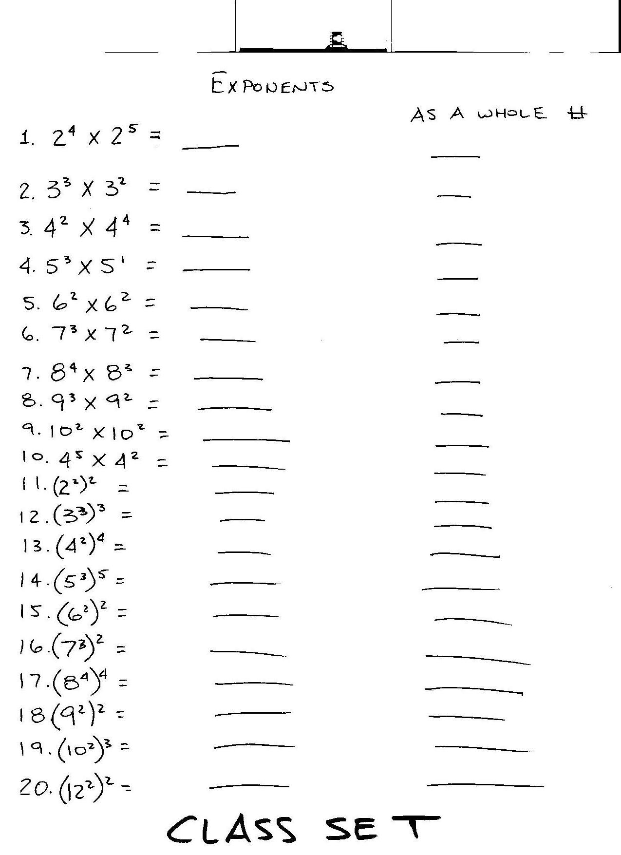 Worksheet Exponents Grade 7