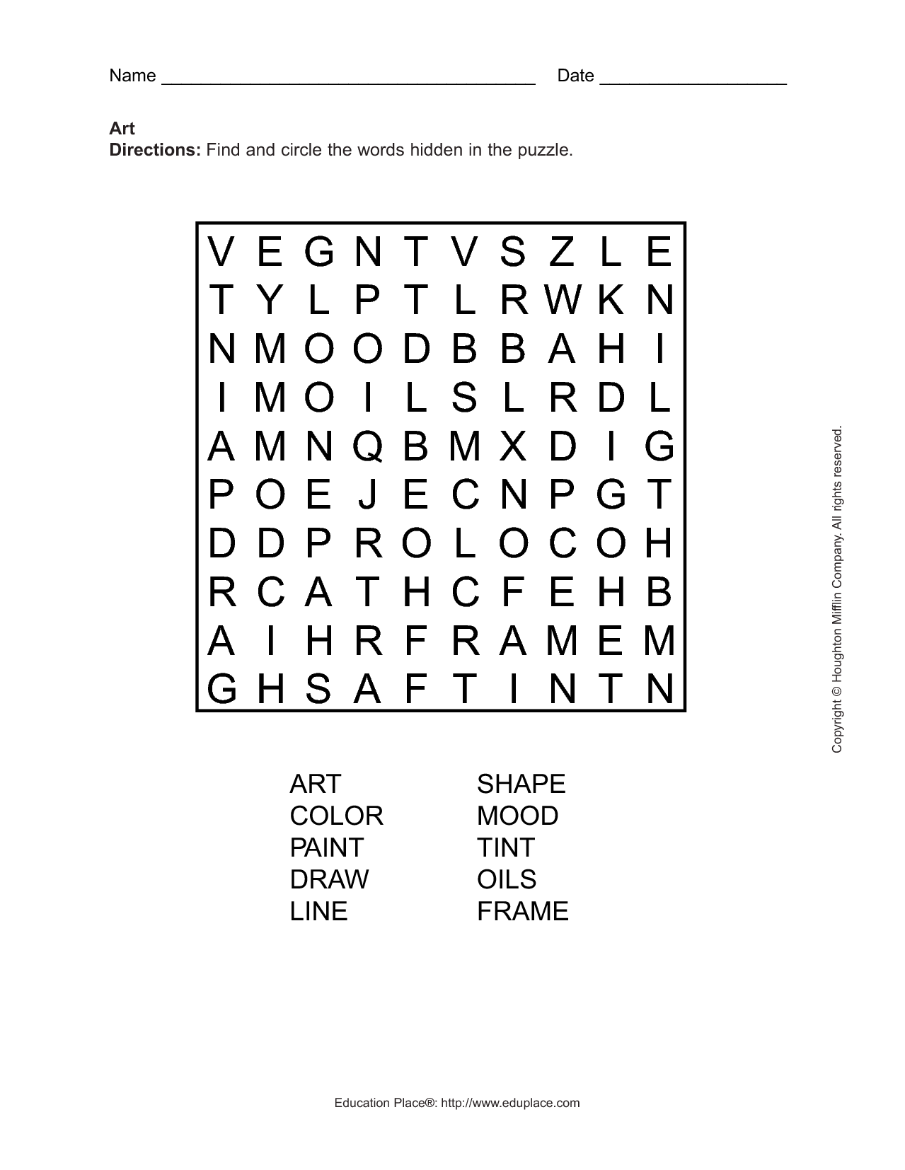 14 Best Images Of Art Terms Worksheet