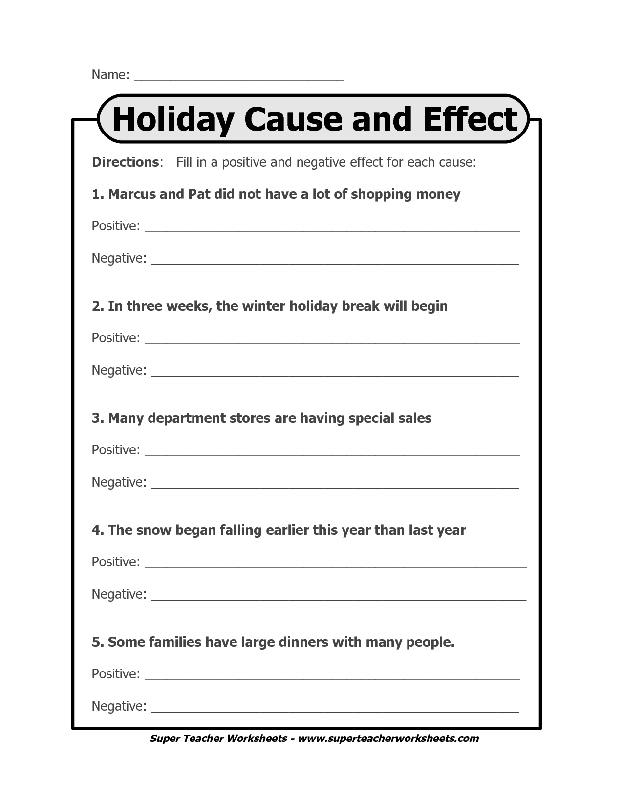 14 Best Images Of Cause And Effect Printable Worksheets