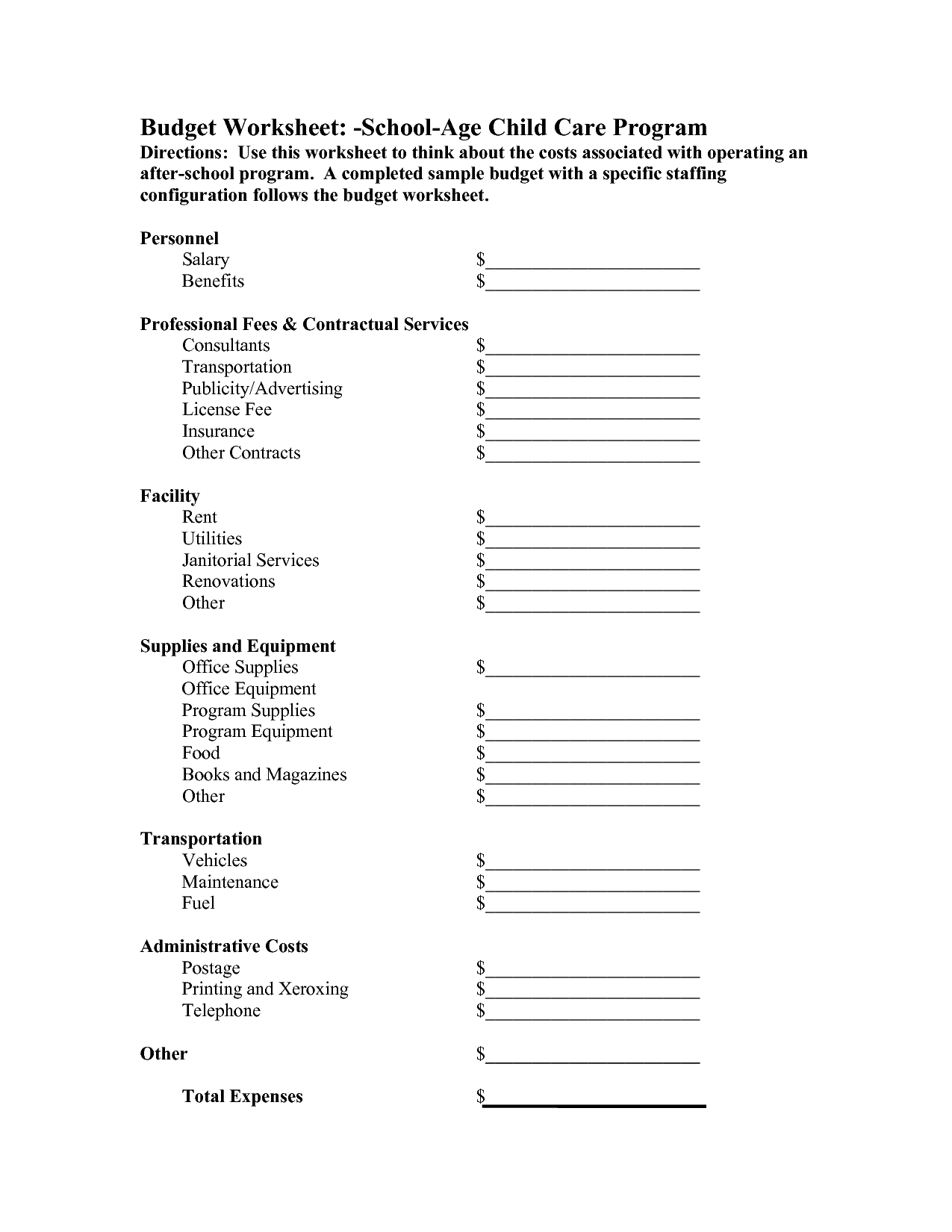 12 Best Images Of Family Reunion Budget Worksheet