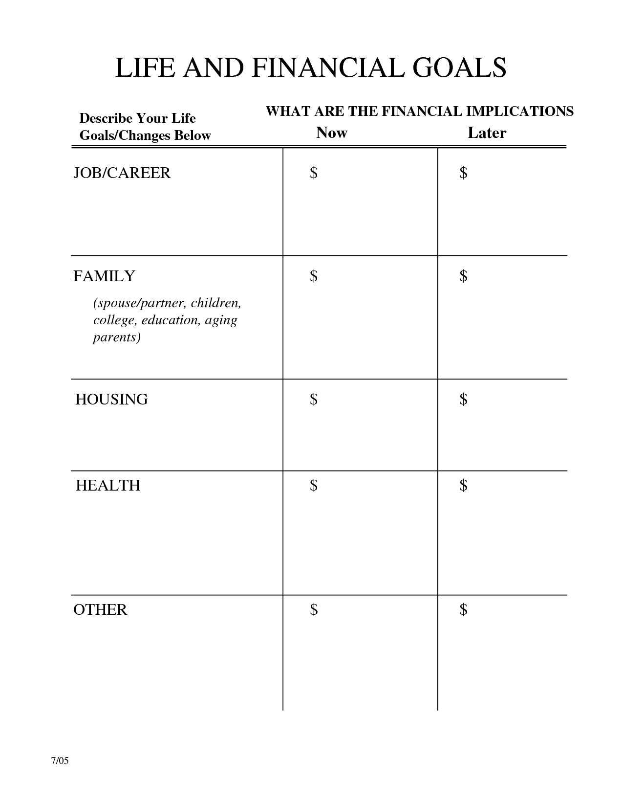 16 Best Images Of Long Term Goals Worksheet