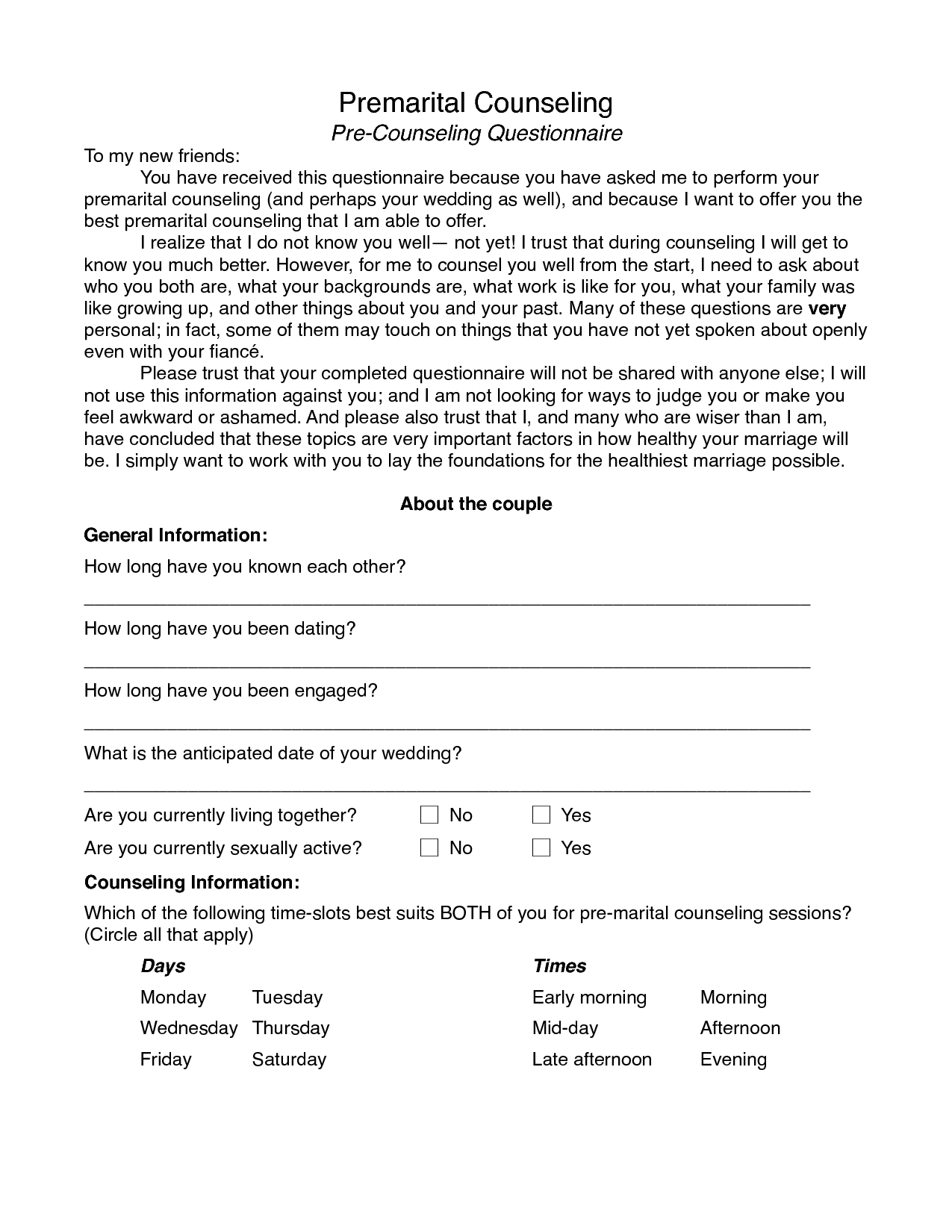 14 Best Images Of Couples Counseling Worksheets