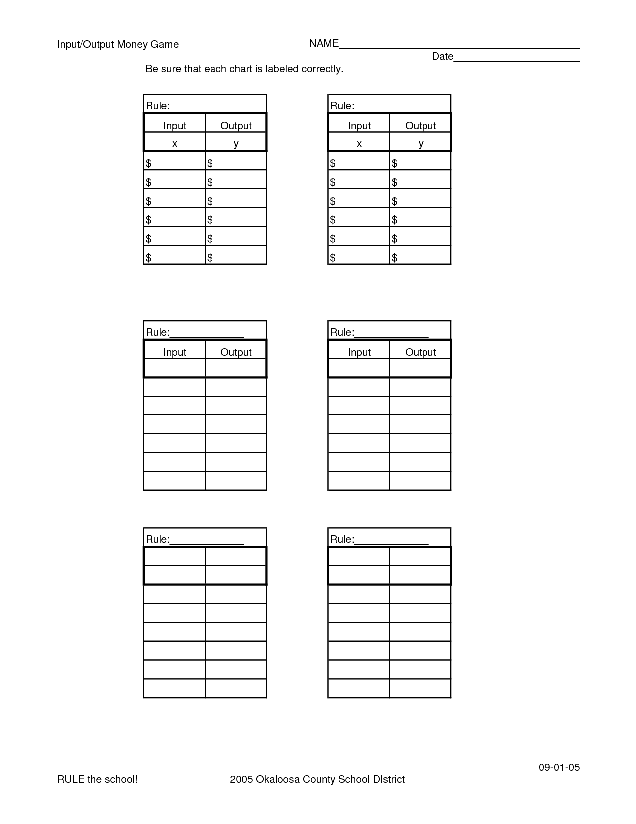 Blank Function Tables Worksheet Printable Worksheets And