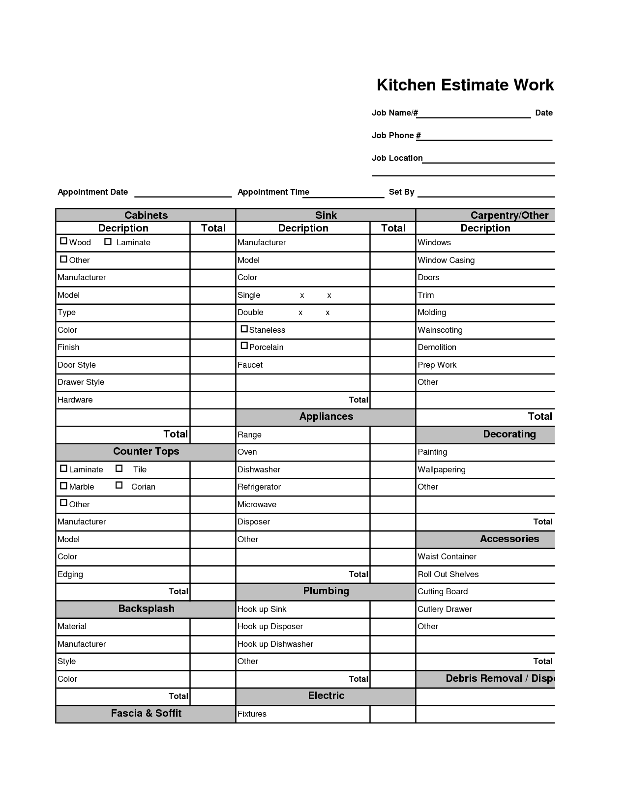 Estimation Worksheet Floor