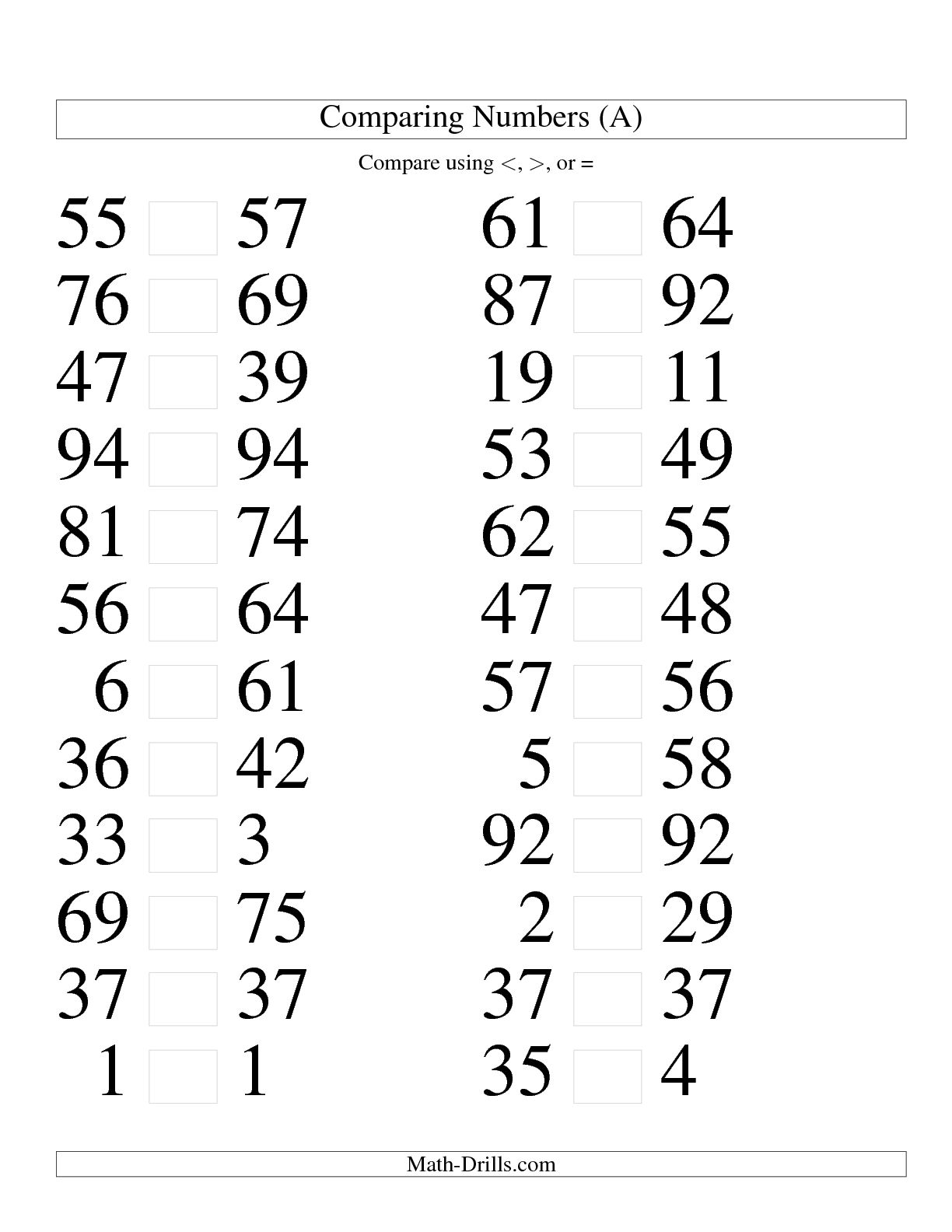 11 Best Images Of Comparing Numbers Worksheet