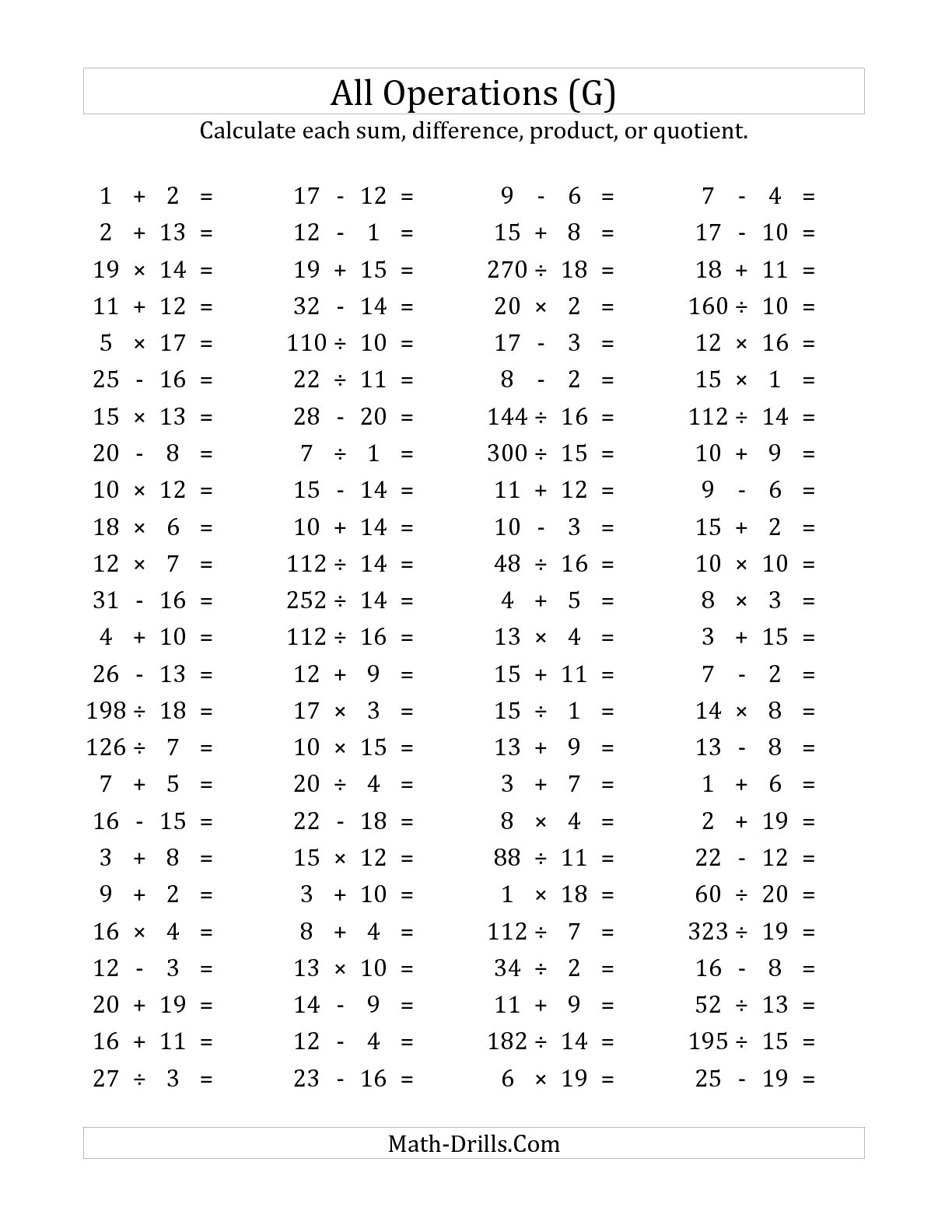 14 Best Images Of Questions Mixed Maths Worksheets