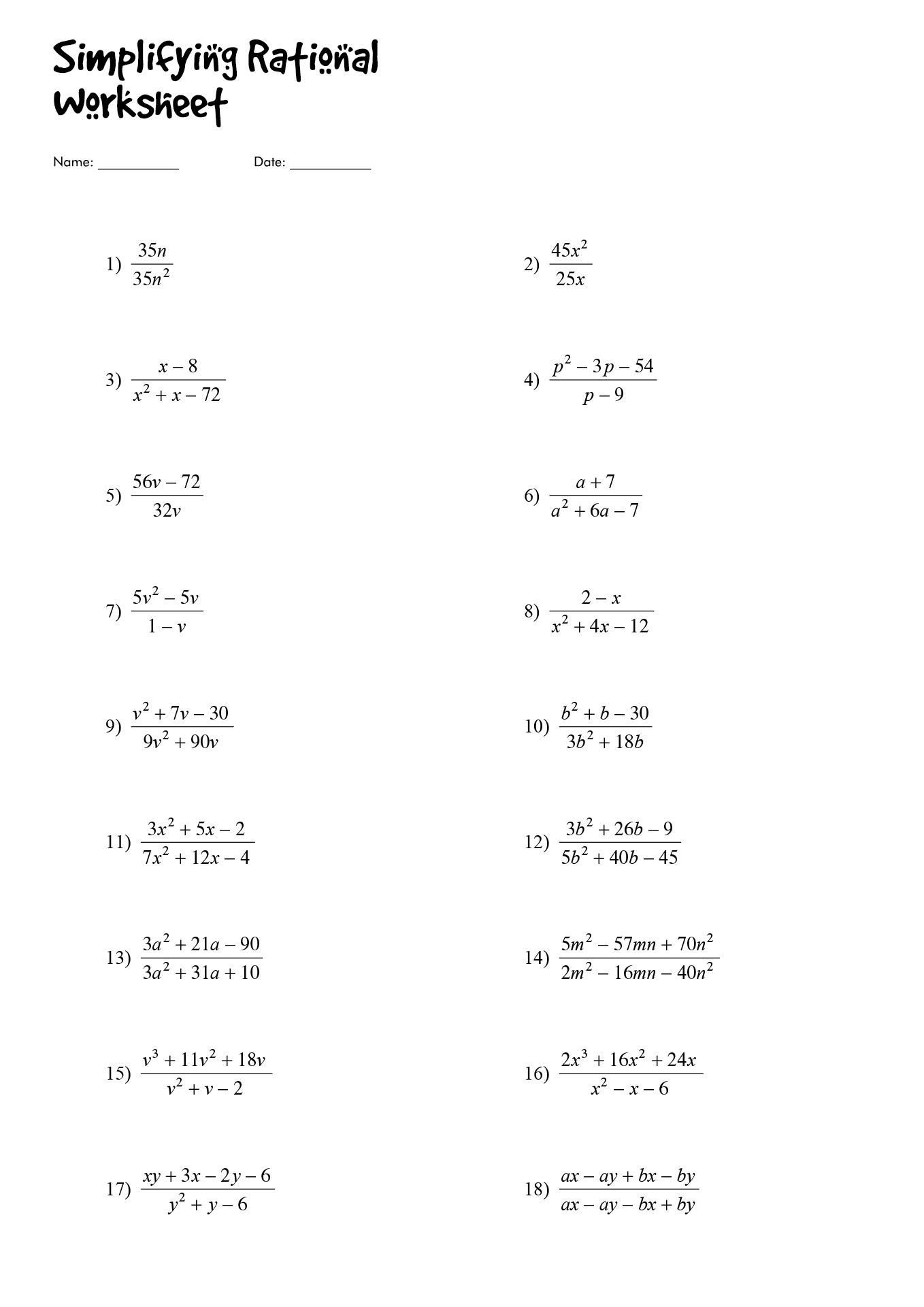 Dividing Rational Expressions Worksheet Algebra 2