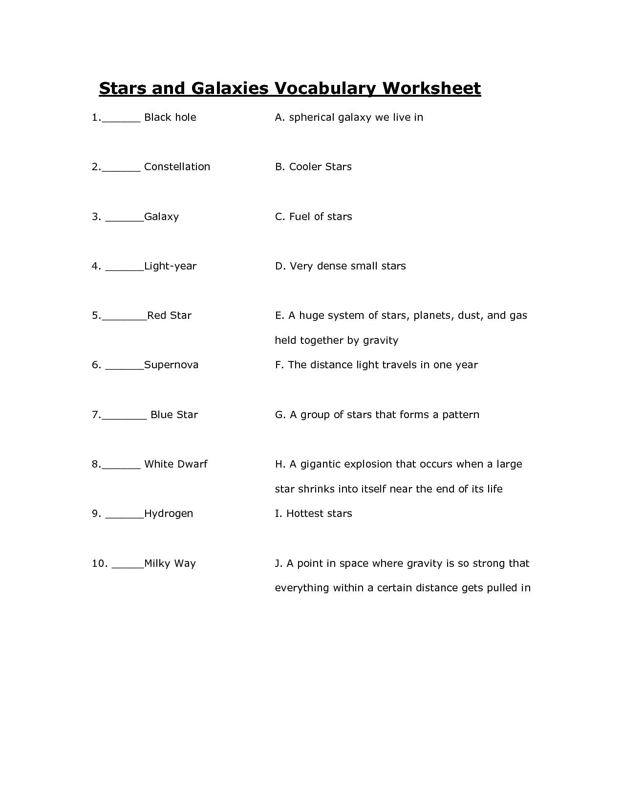 Classifying Stars Worksheet