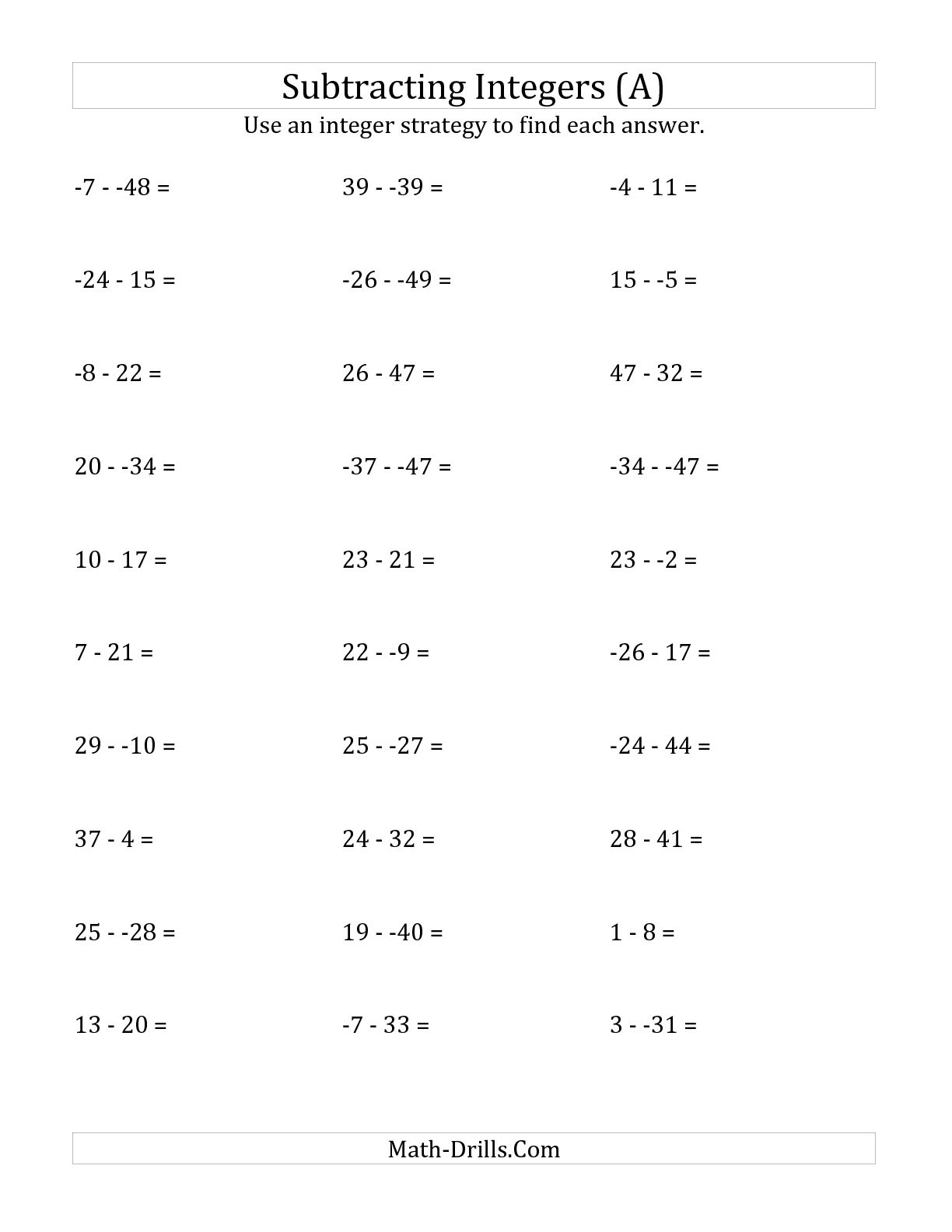 Dividing Integers Worksheet 6th Grade